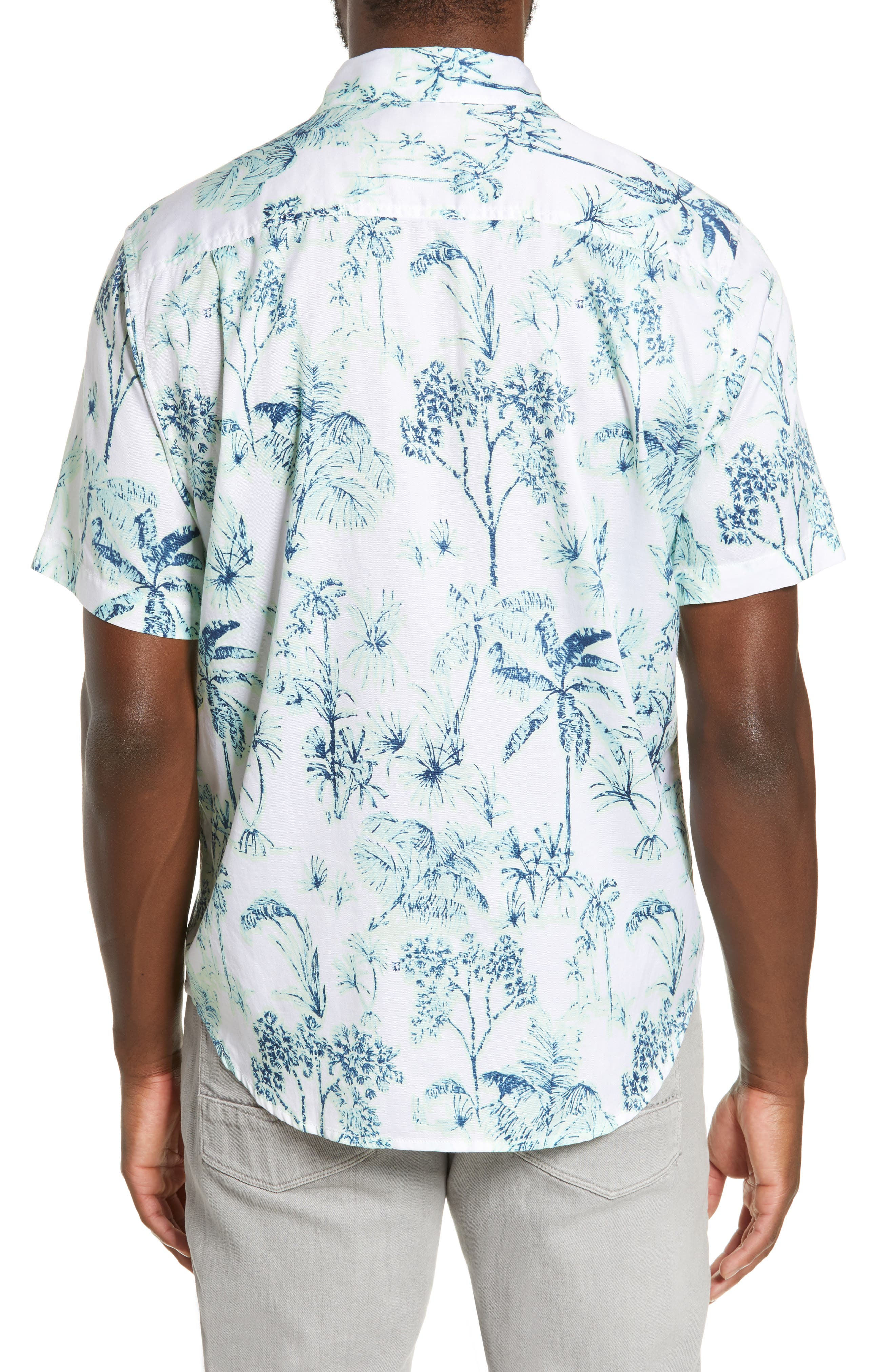Tropic Mist Woven Shirt,                             Alternate thumbnail 3, color,                             GLOWING GREEN