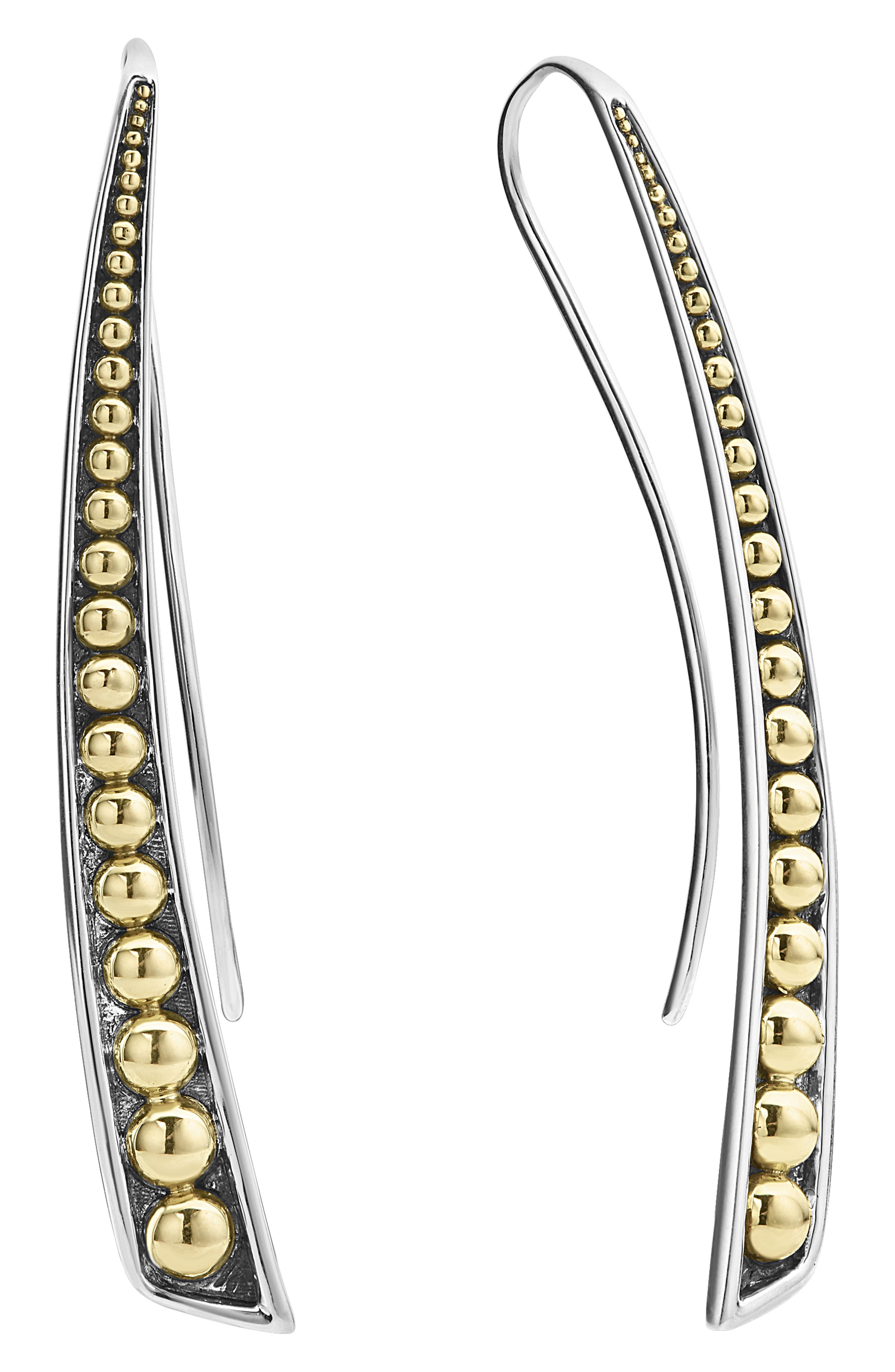 Signature Caviar Curved Linear Earrings,                             Alternate thumbnail 3, color,                             SILVER/ GOLD