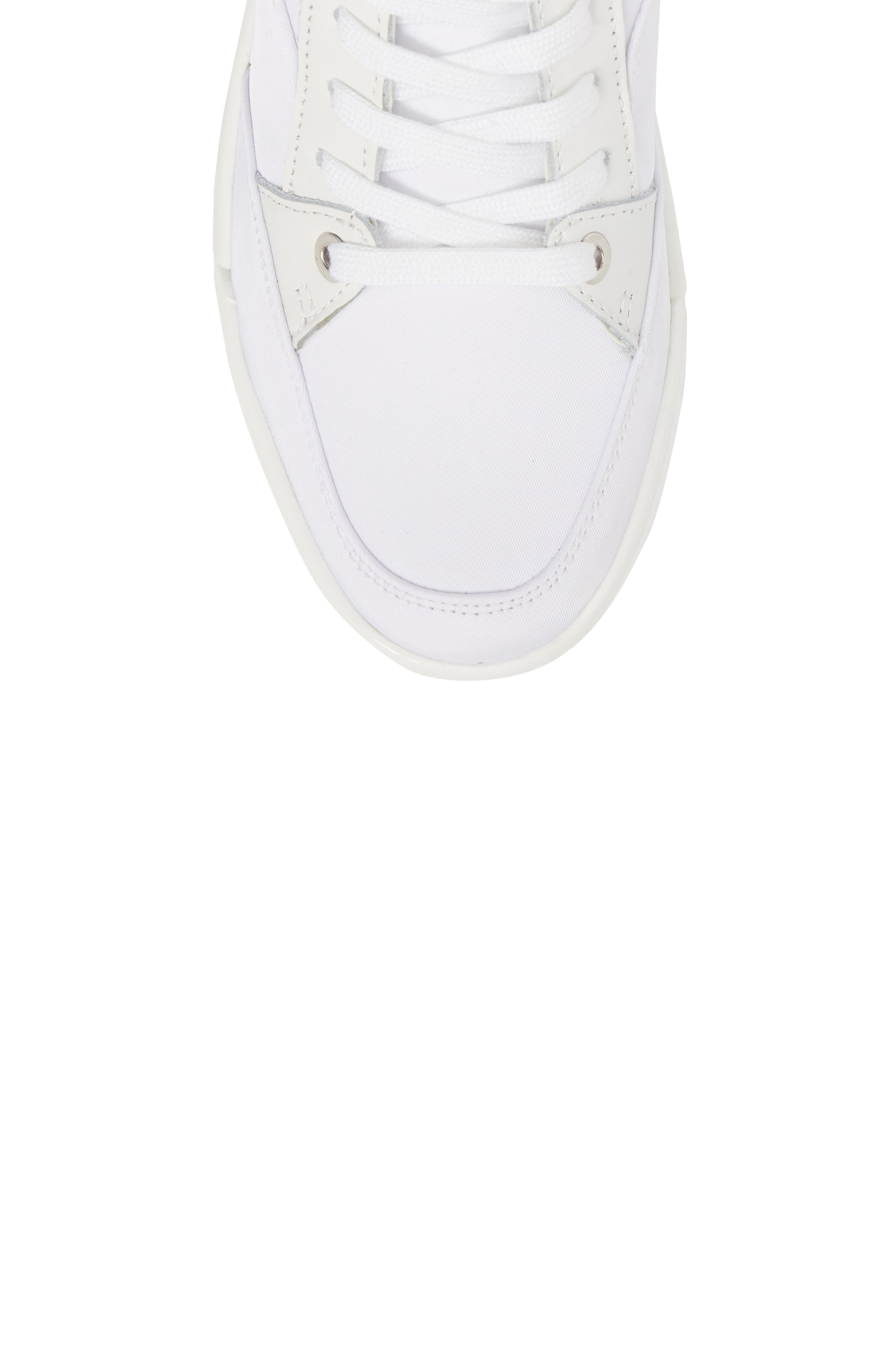 Nelda High Top Sneaker,                             Alternate thumbnail 5, color,                             WHITE LEATHER
