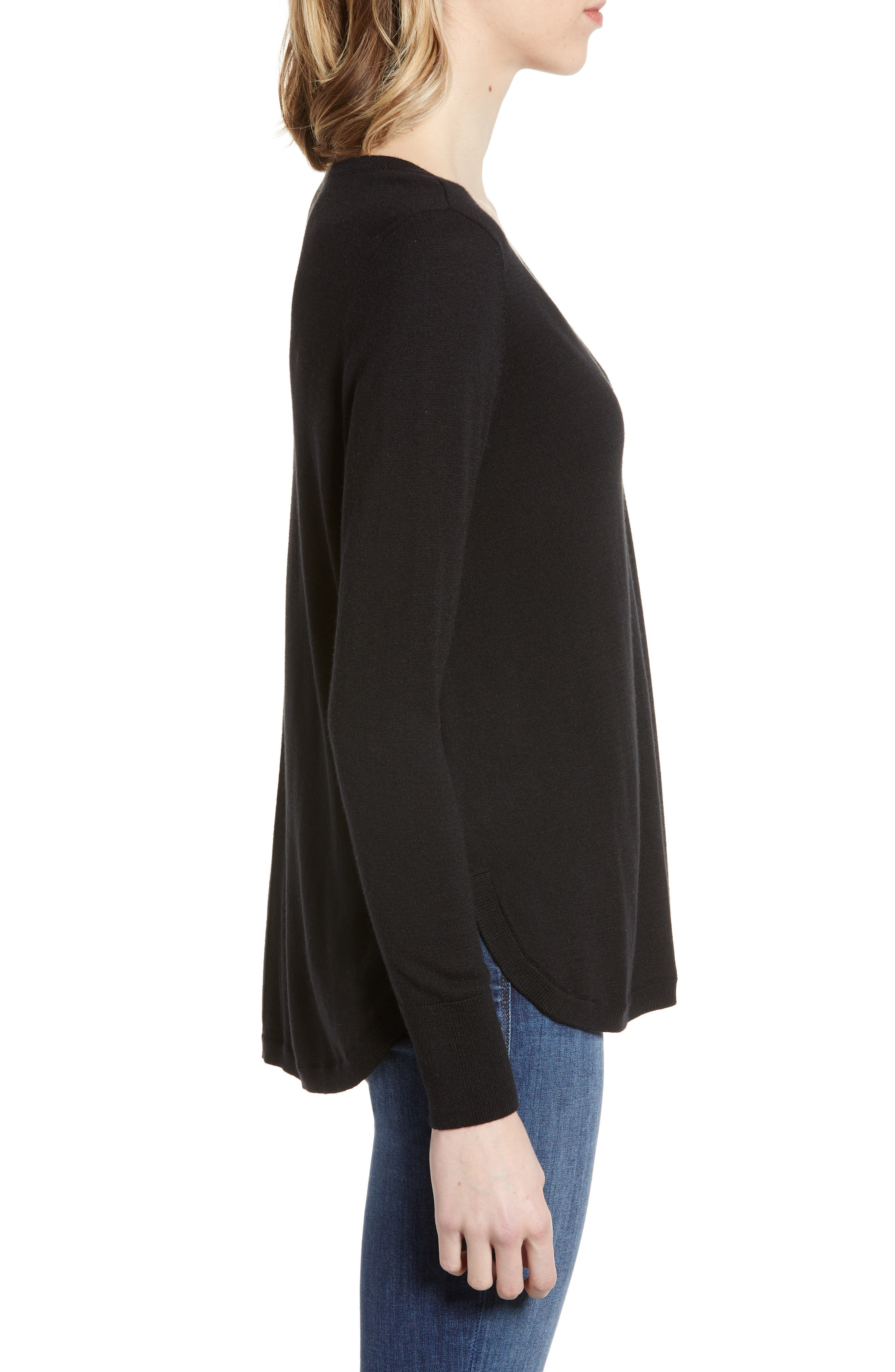 High-Low V-neck Sweater,                             Alternate thumbnail 4, color,                             001