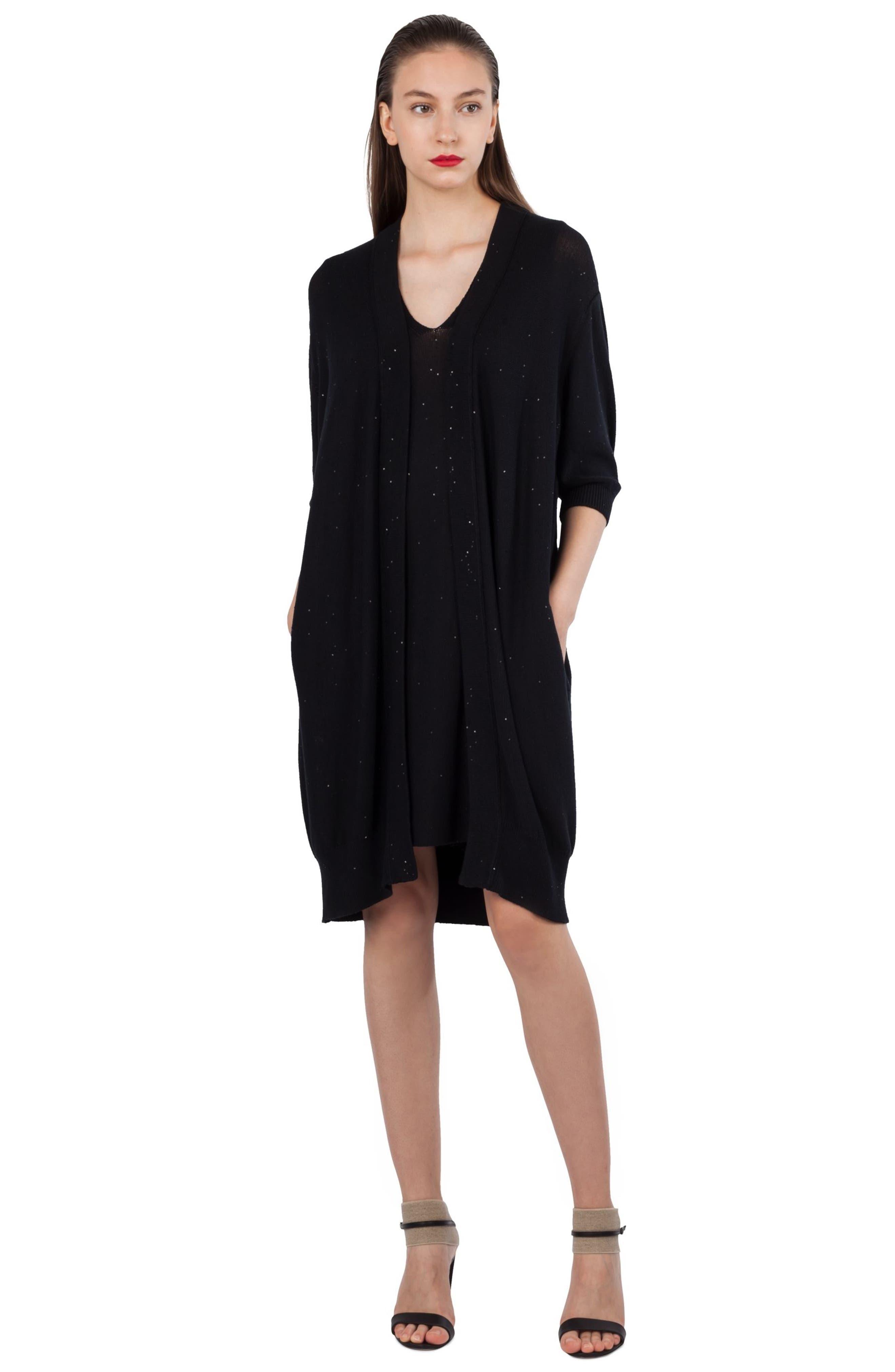 Sequin Knit Silk & Cotton Dress,                             Alternate thumbnail 5, color,                             009