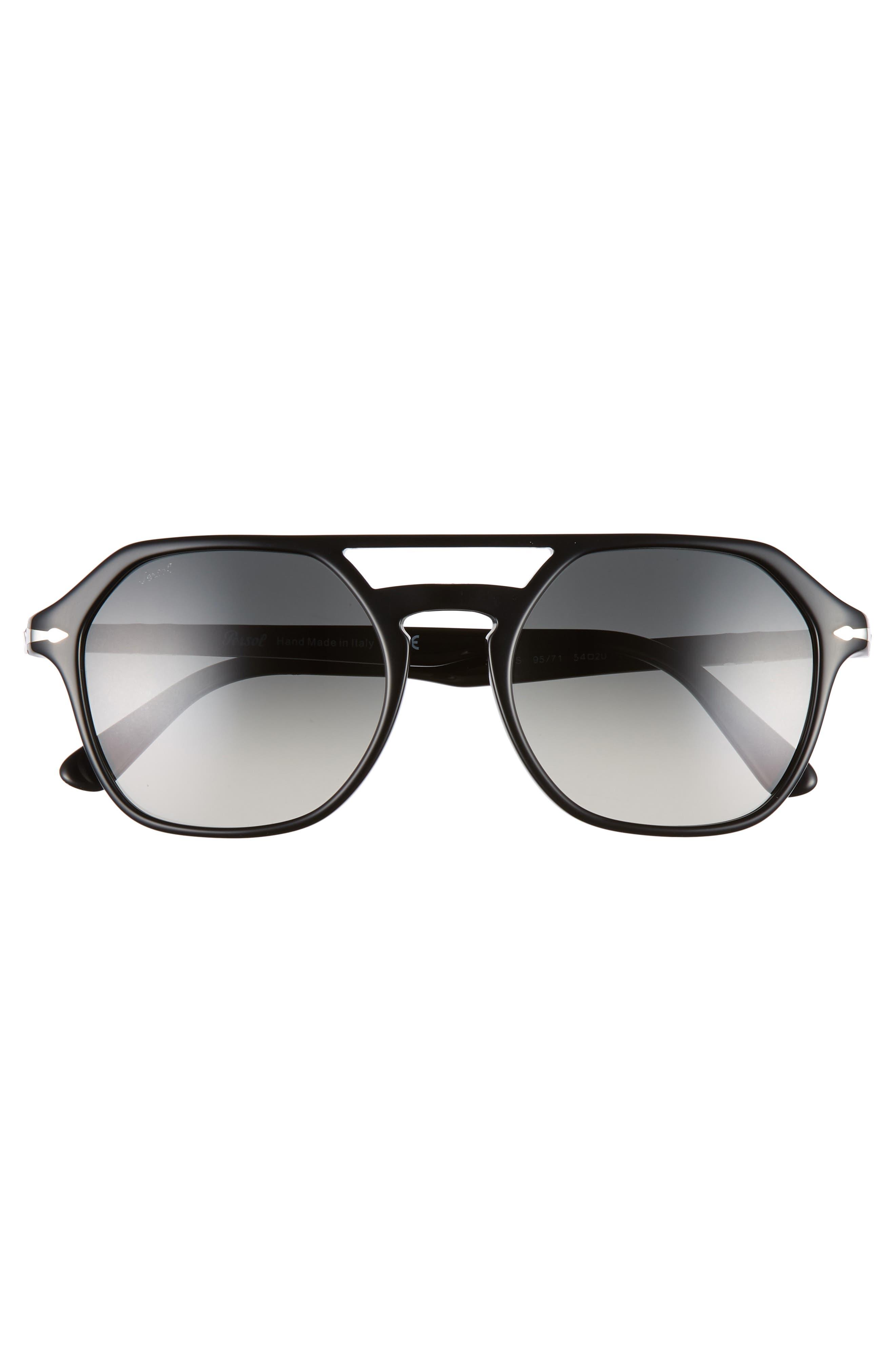 PERSOL,                             54mm Navigator Sunglasses,                             Alternate thumbnail 3, color,                             BLACK/ GREY GRADIENT