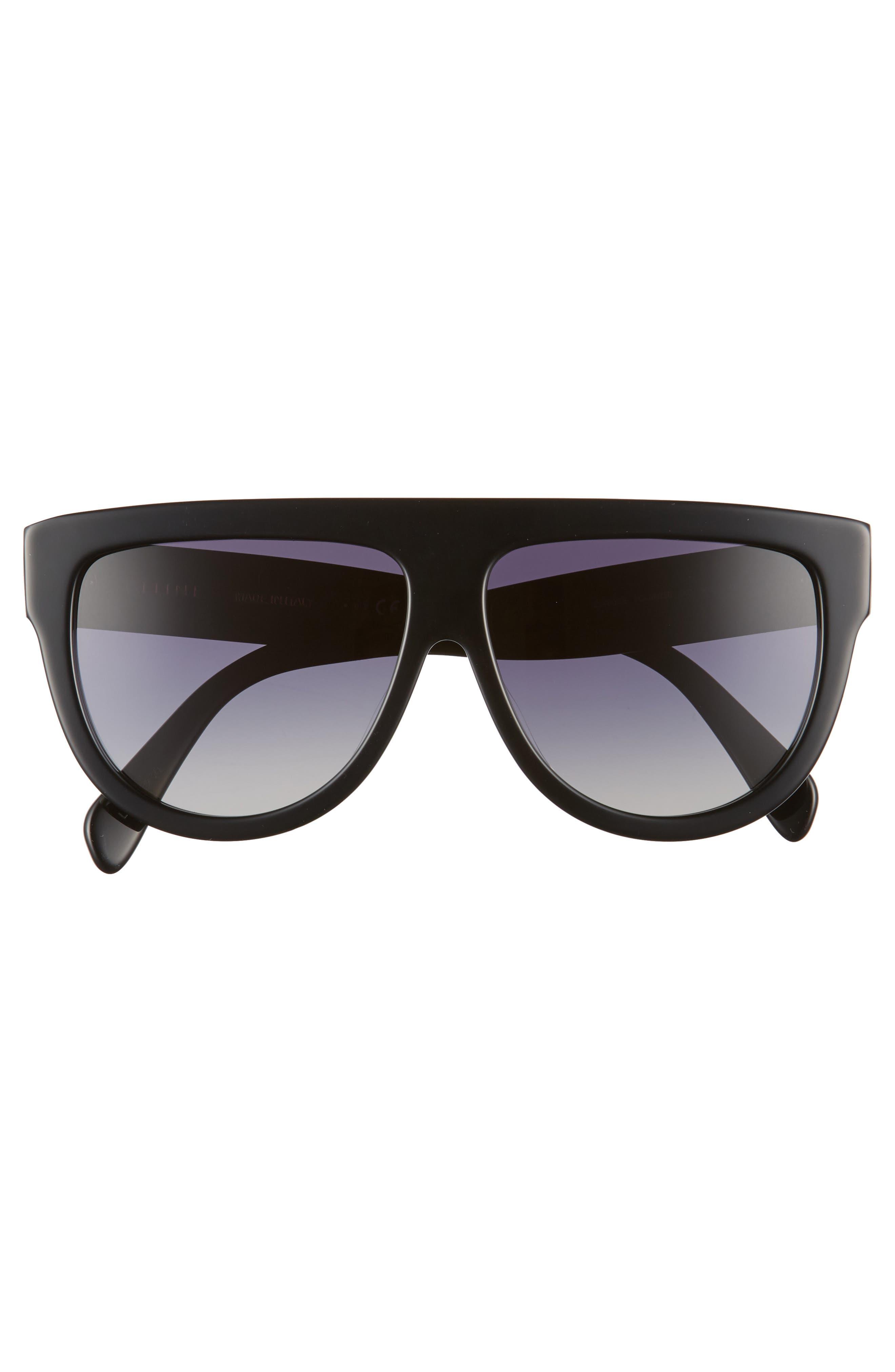 Special Fit 60mm Polarized Gradient Flat Top Sunglasses,                             Alternate thumbnail 4, color,                             BLACK/ GRADIENT SMOKE