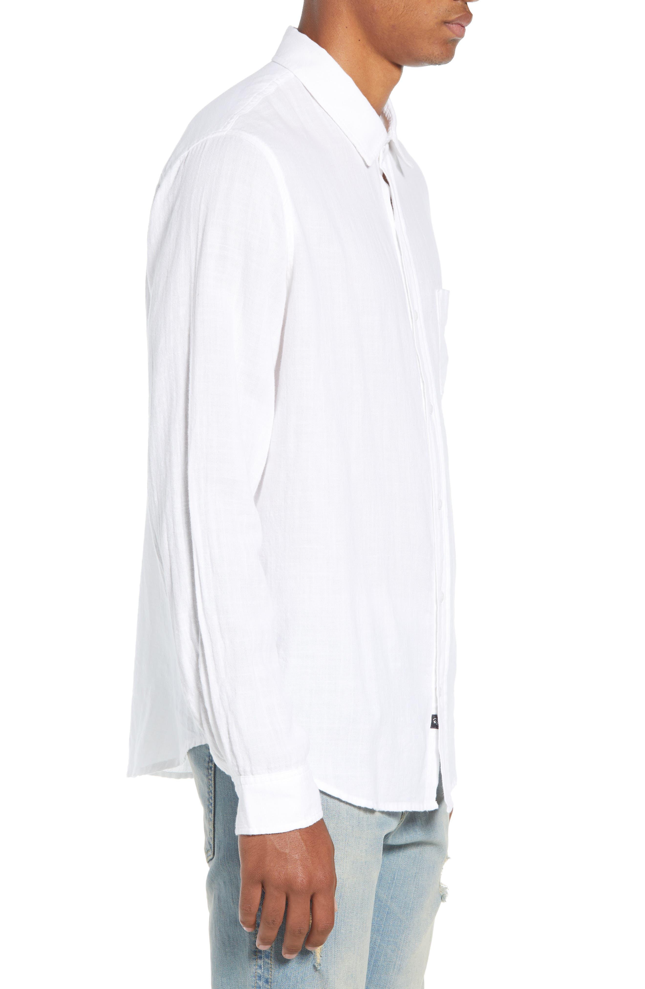 Wyatt Regular Fit Woven Shirt,                             Alternate thumbnail 4, color,                             WHITE