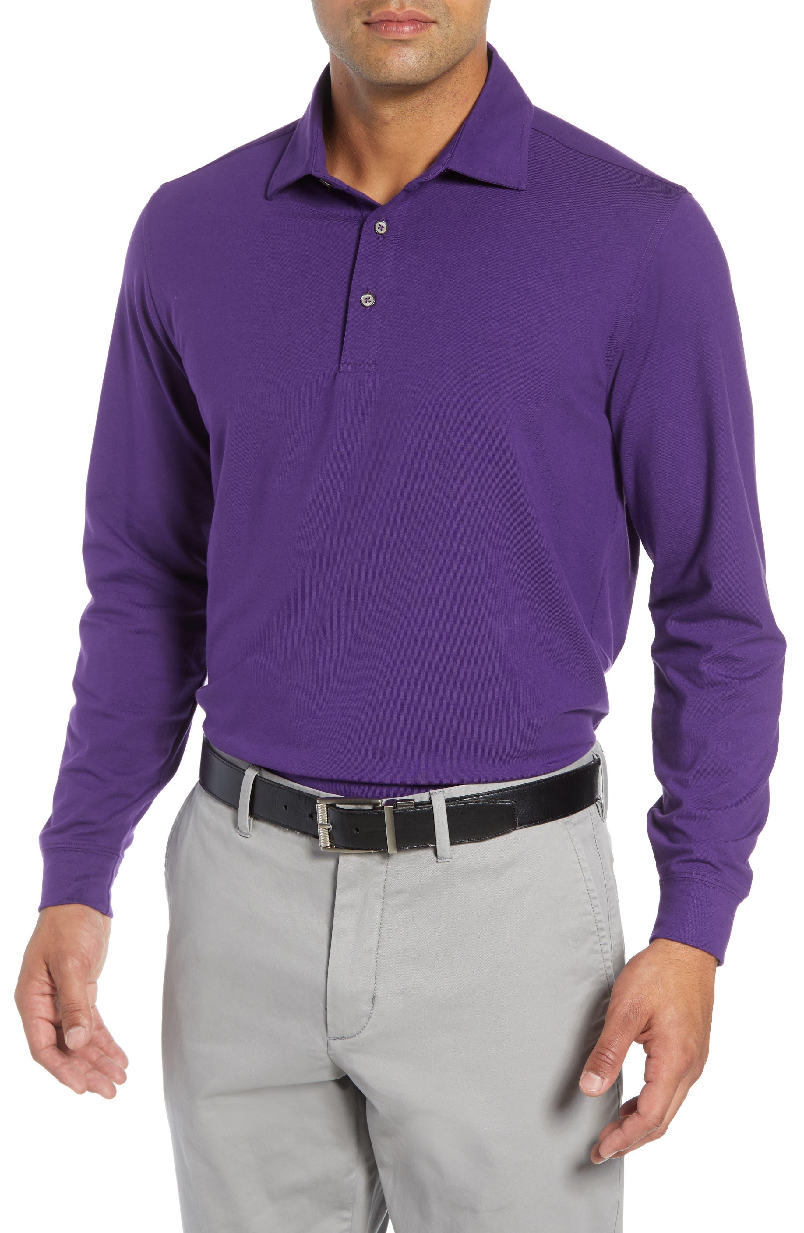 'Liquid Cotton' Long Sleeve Jersey Polo,                             Main thumbnail 1, color,                             PURPLE