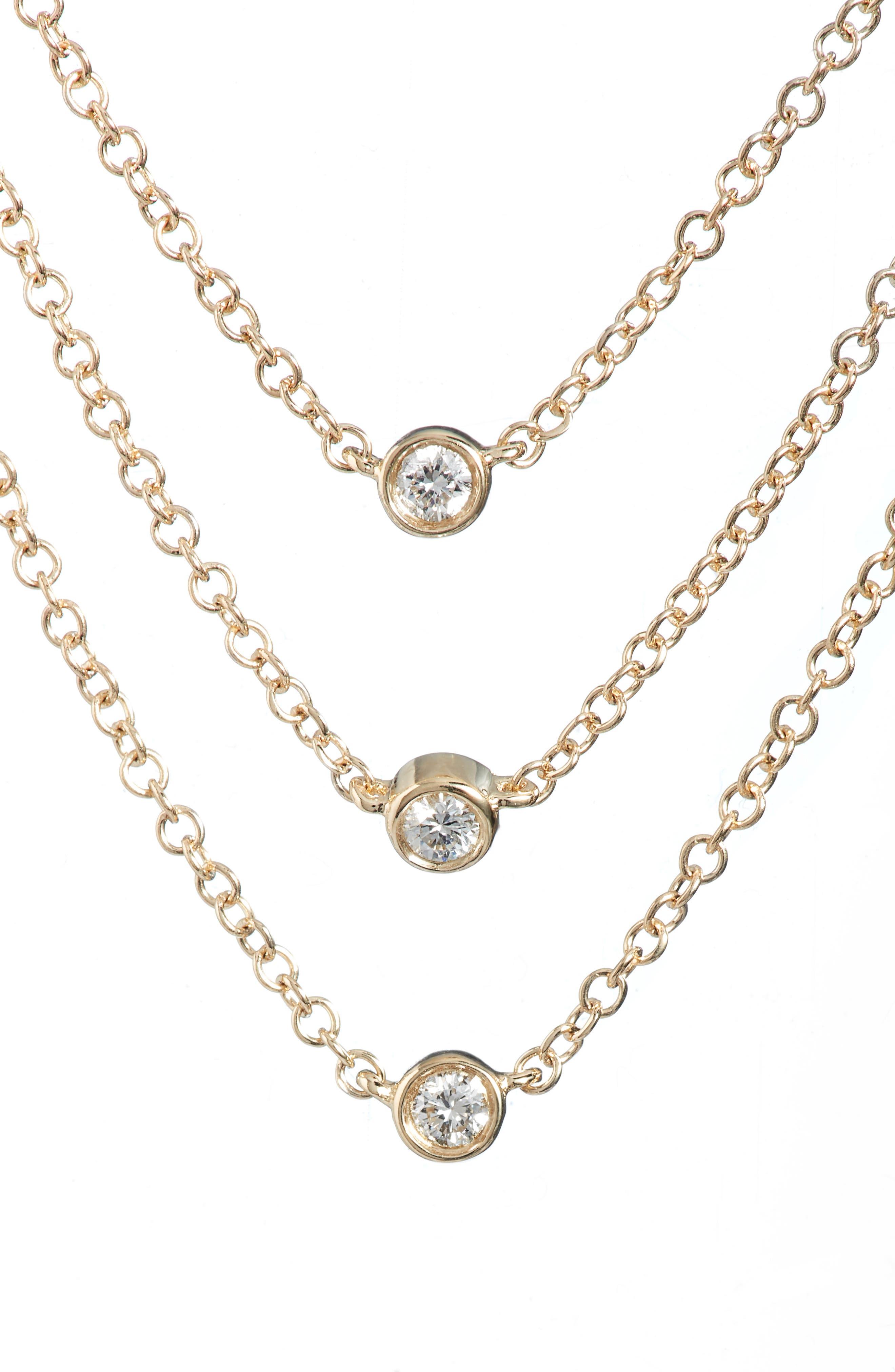 Diamond Triple Bezel Layered Necklace,                             Main thumbnail 1, color,                             YELLOW GOLD