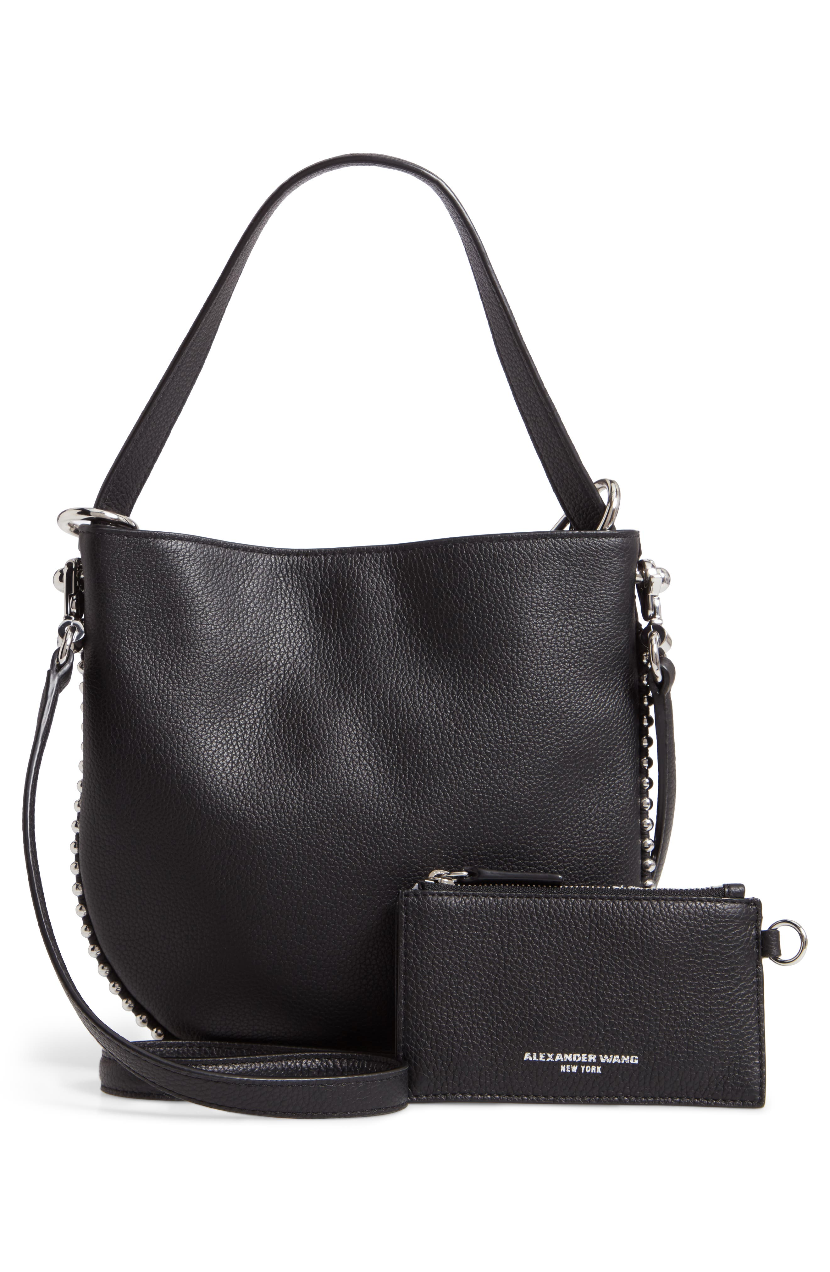 Mini Roxy Leather Bucket Bag,                             Alternate thumbnail 4, color,                             BLACK
