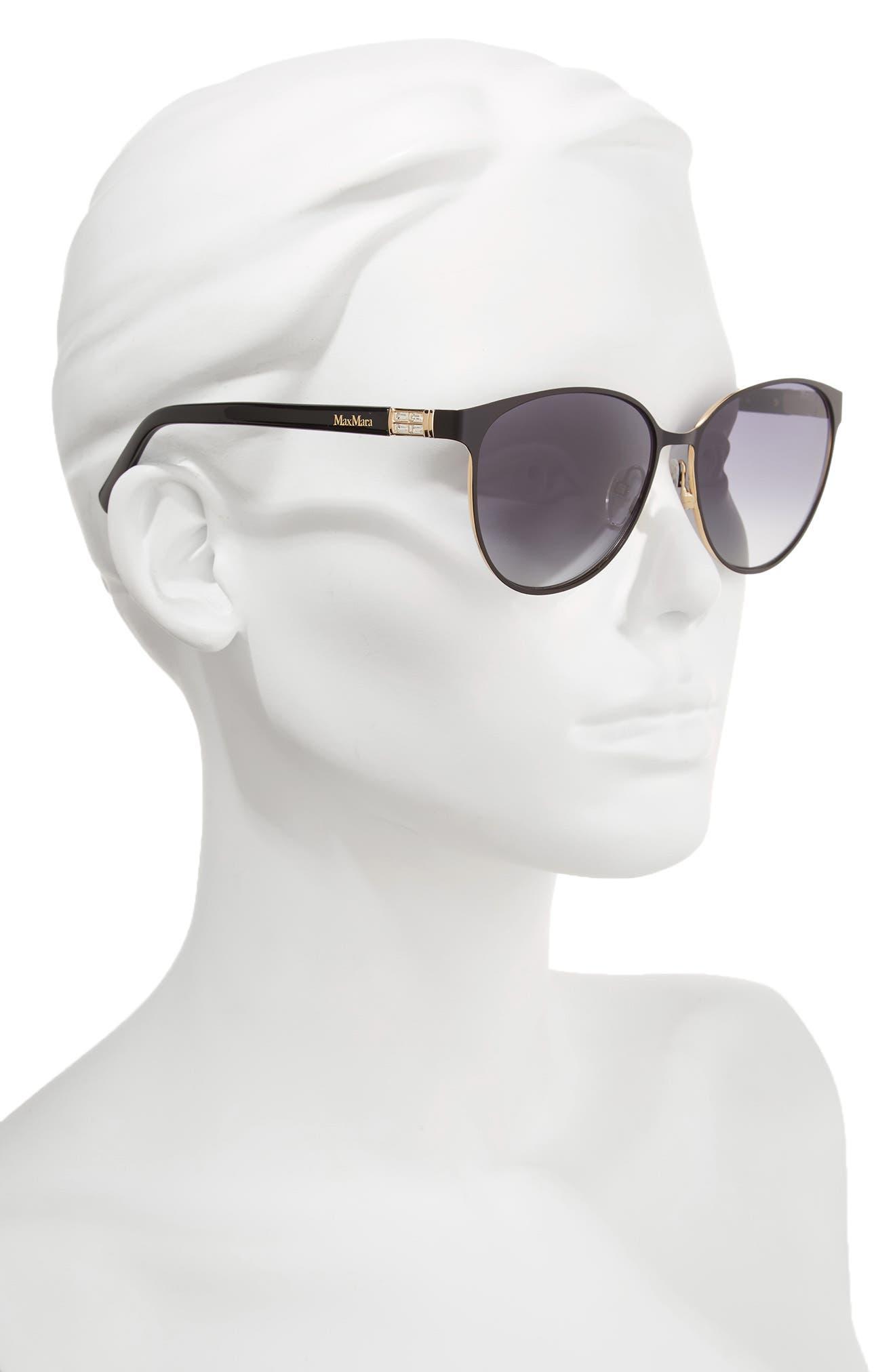 Diamov 59mm Gradient Cat Eye Sunglasses,                             Alternate thumbnail 2, color,                             MATTE BLACK