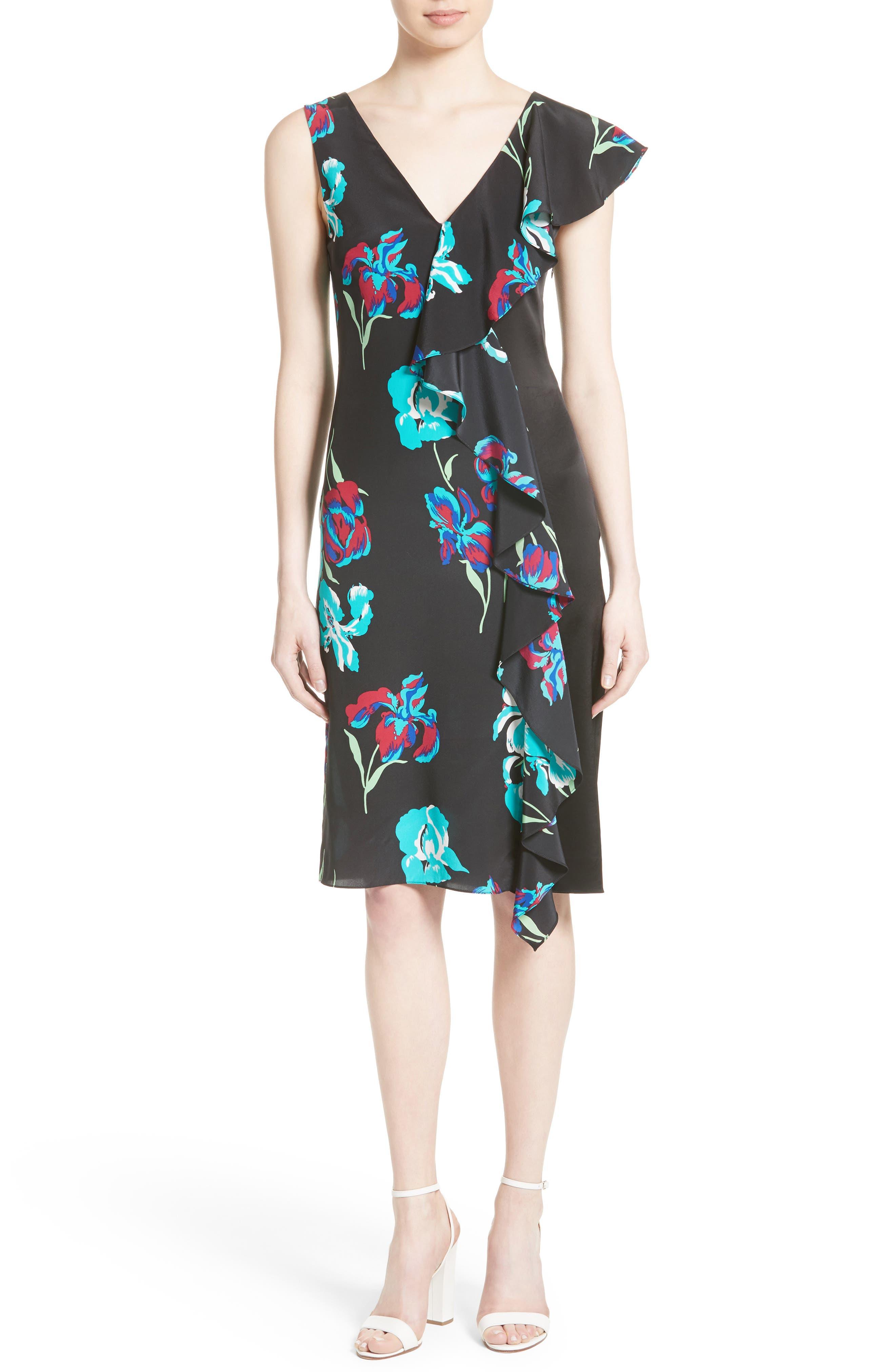 Silk Side Ruffle Sheath Dress,                             Main thumbnail 1, color,                             004