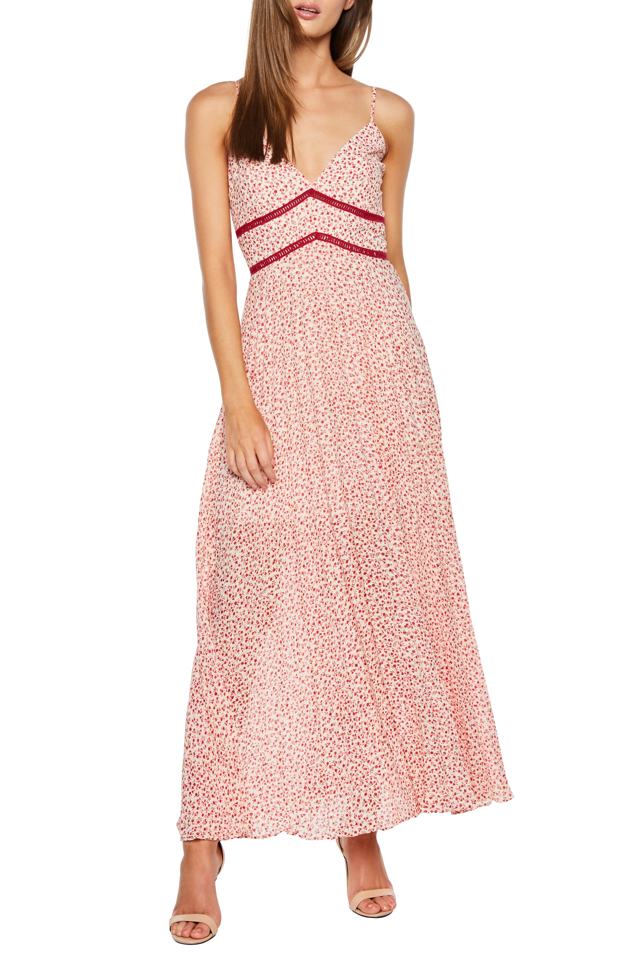 Bardot Brooke Floral Maxi Dress, Red
