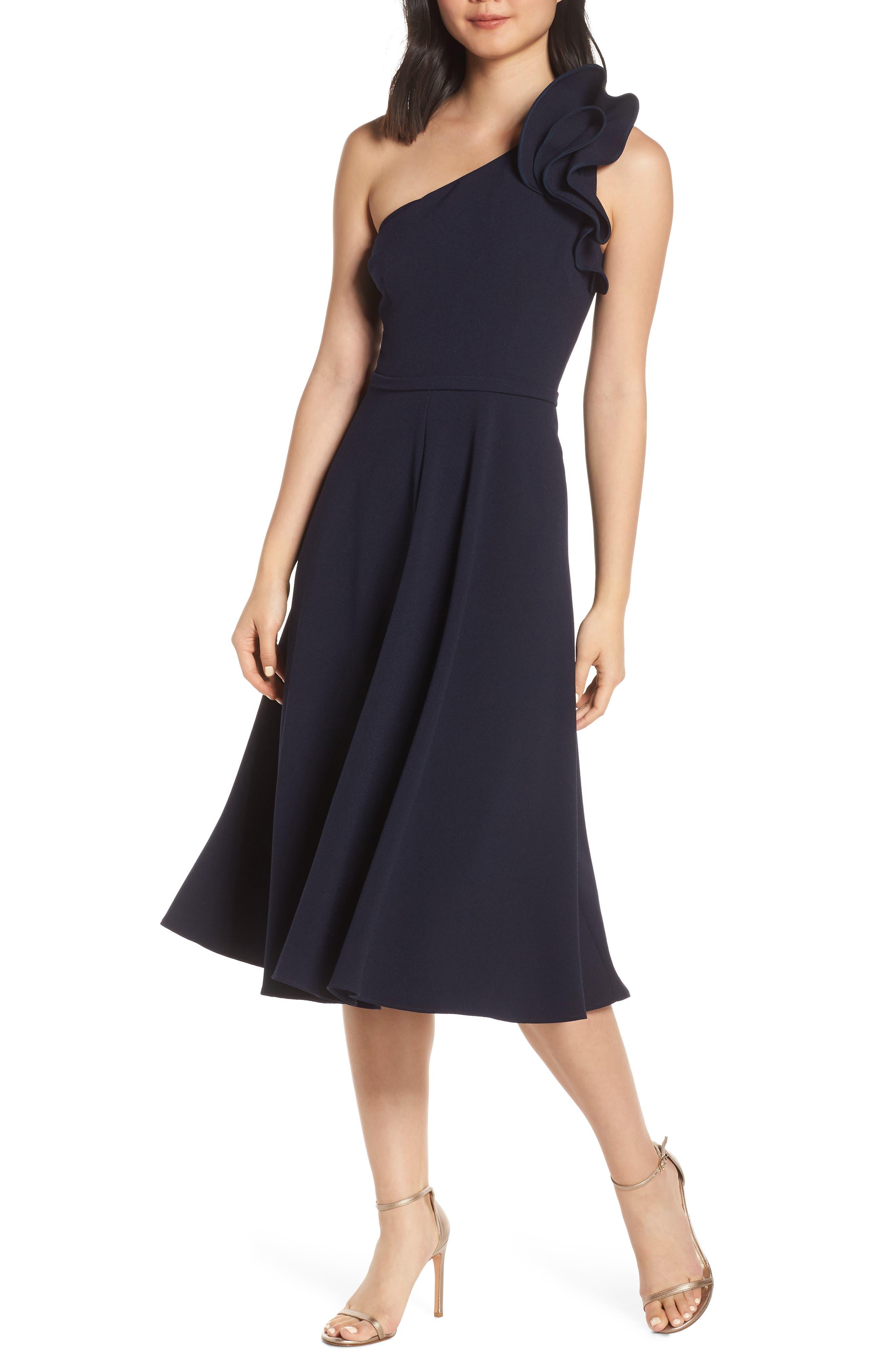 Eliza J Ruffle One-Shoulder Fit & Flare Dress, Blue