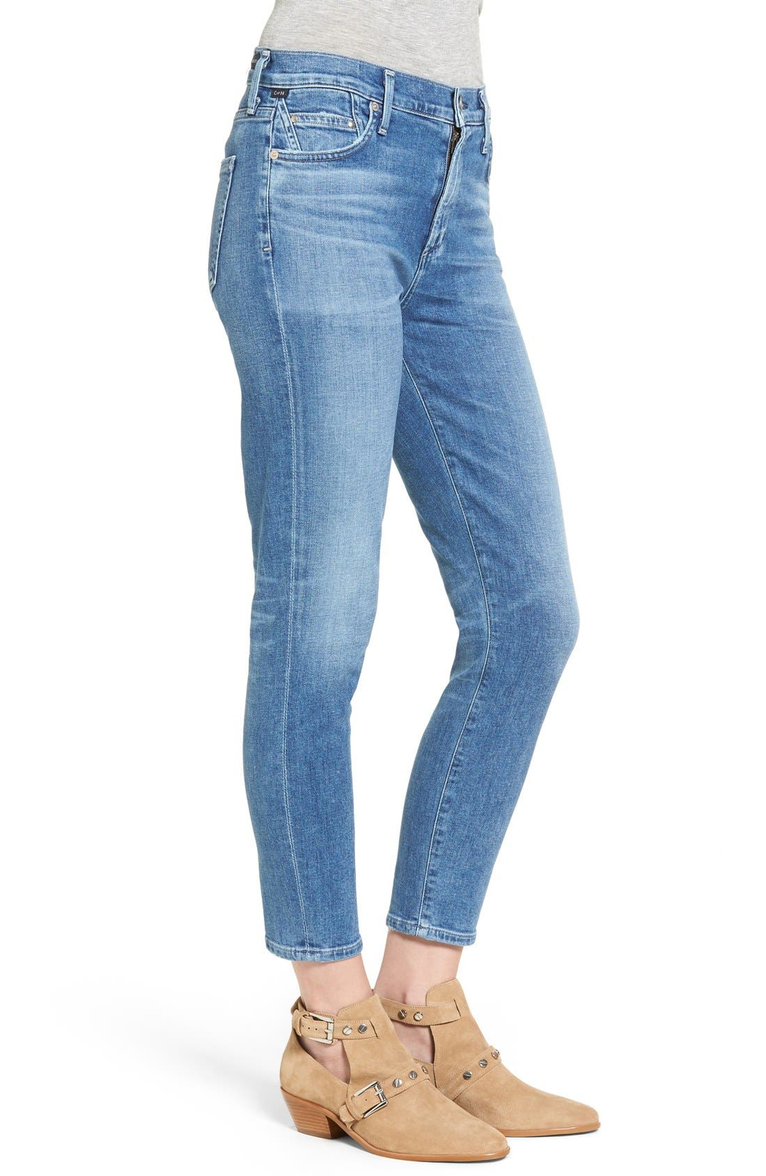 Rocket High Waist Crop Skinny Jeans,                             Alternate thumbnail 5, color,