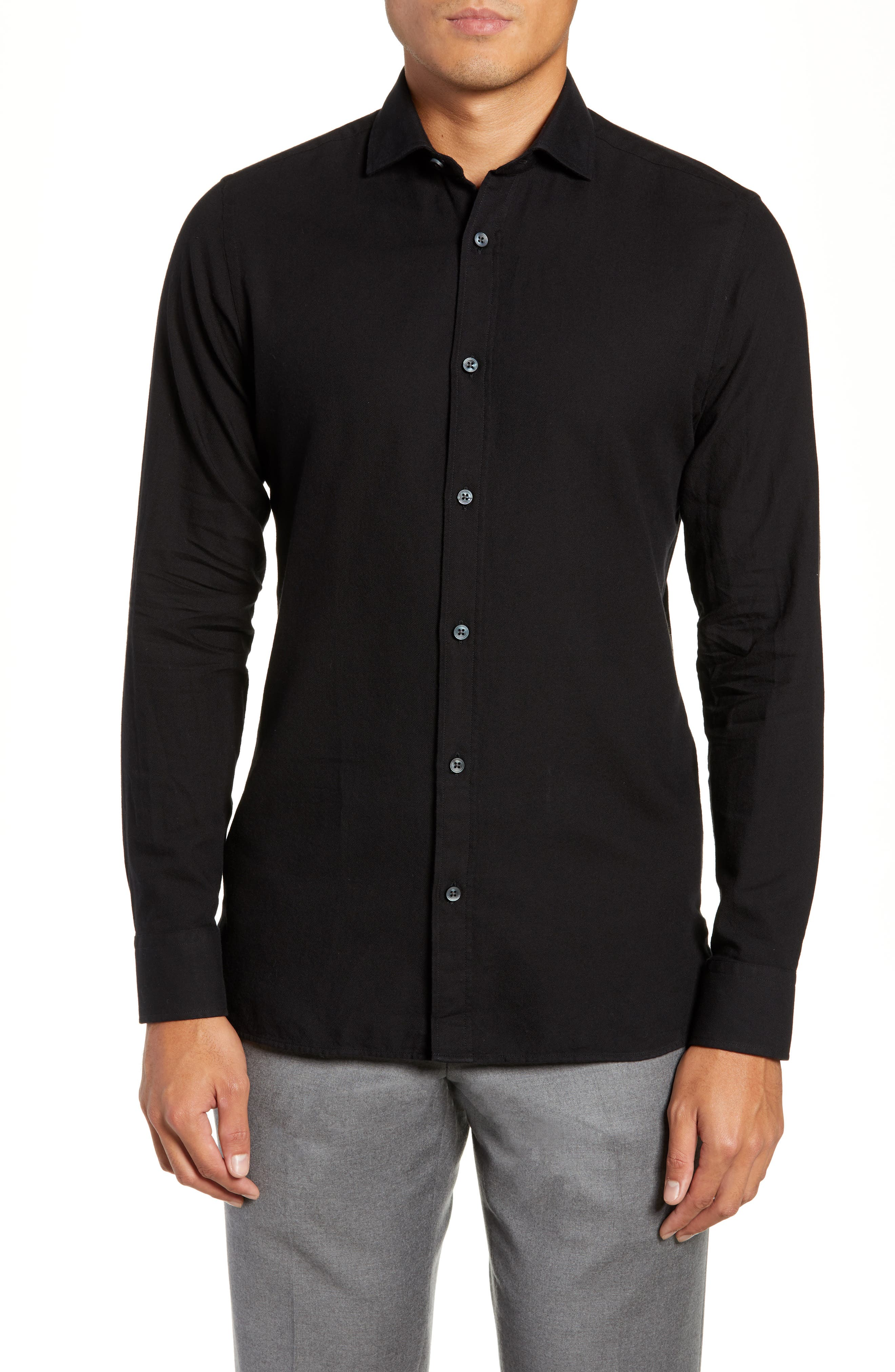 Trim Fit Solid Sport Shirt,                         Main,                         color, 001