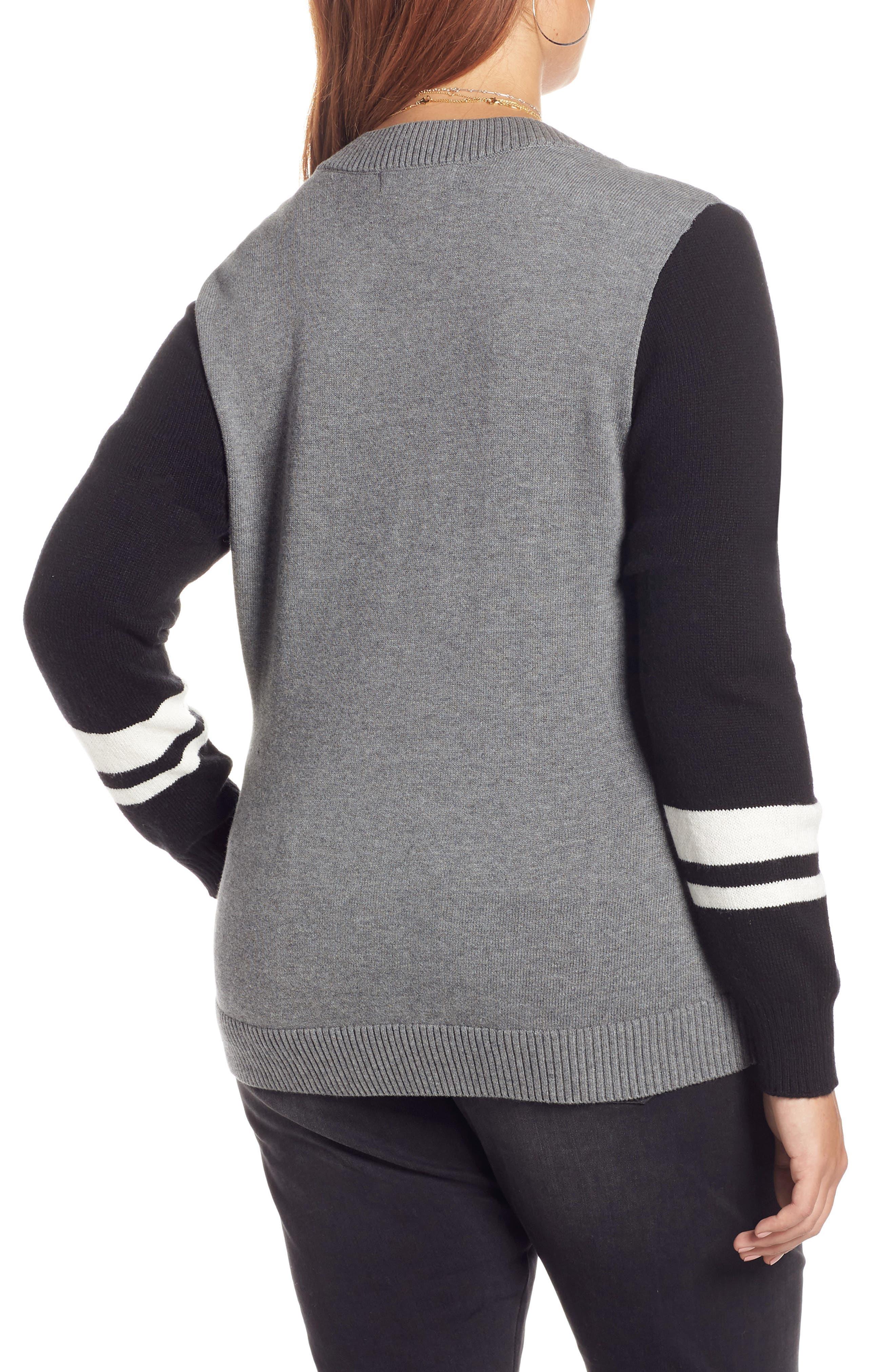 Stripe V-Neck Sweater,                             Alternate thumbnail 8, color,                             GREY HEATHER COMBO