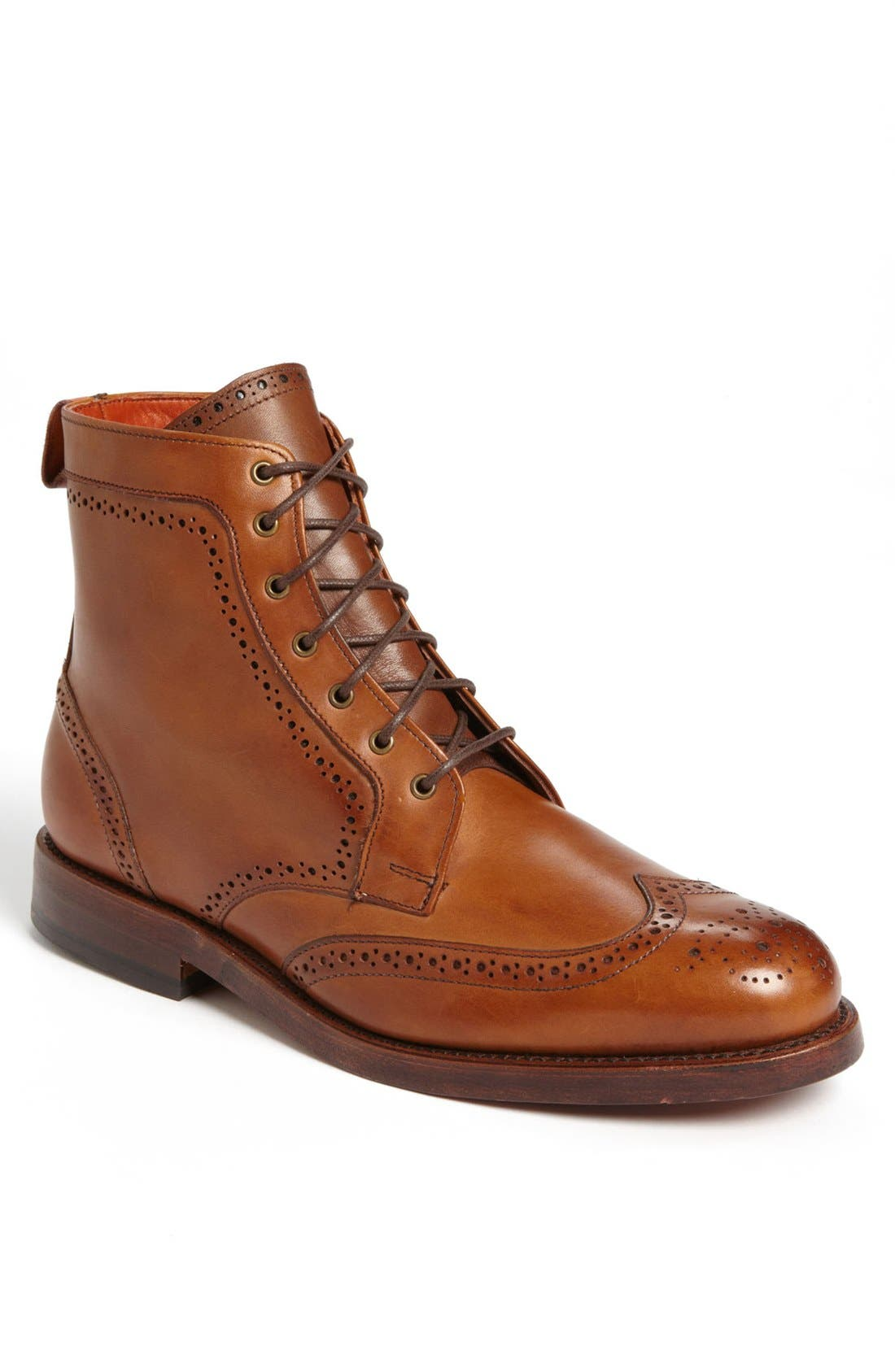 'Dalton' Water Resistant Wingtip Boot,                             Main thumbnail 1, color,                             BURNISHED WALNUT LEATHER