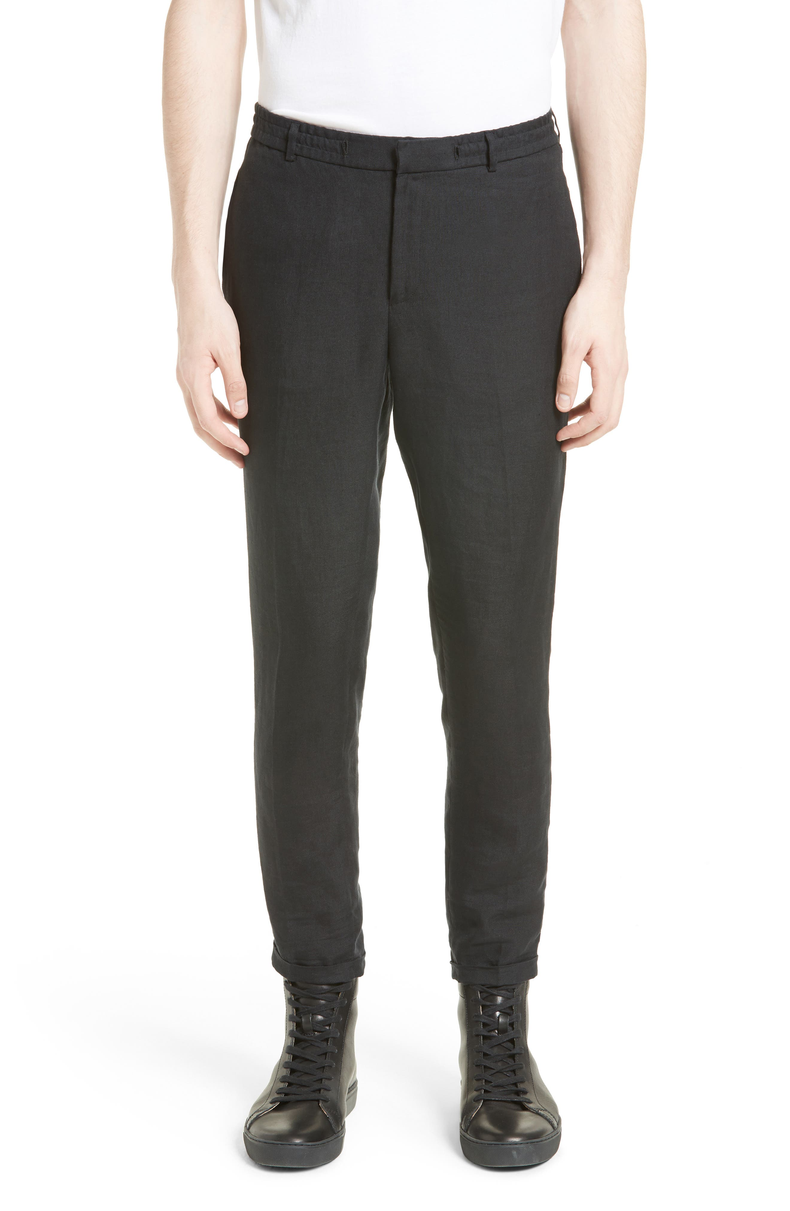 Relaxed Fit Linen Pants,                         Main,                         color, 001