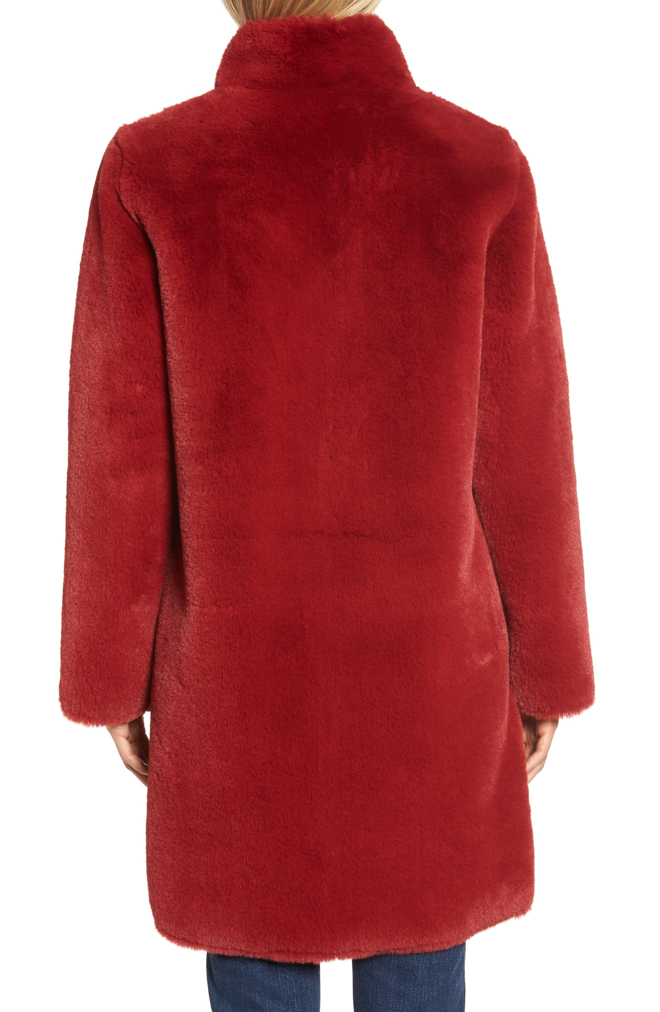 Faux Fur Reversible Coat,                             Alternate thumbnail 3, color,                             RED