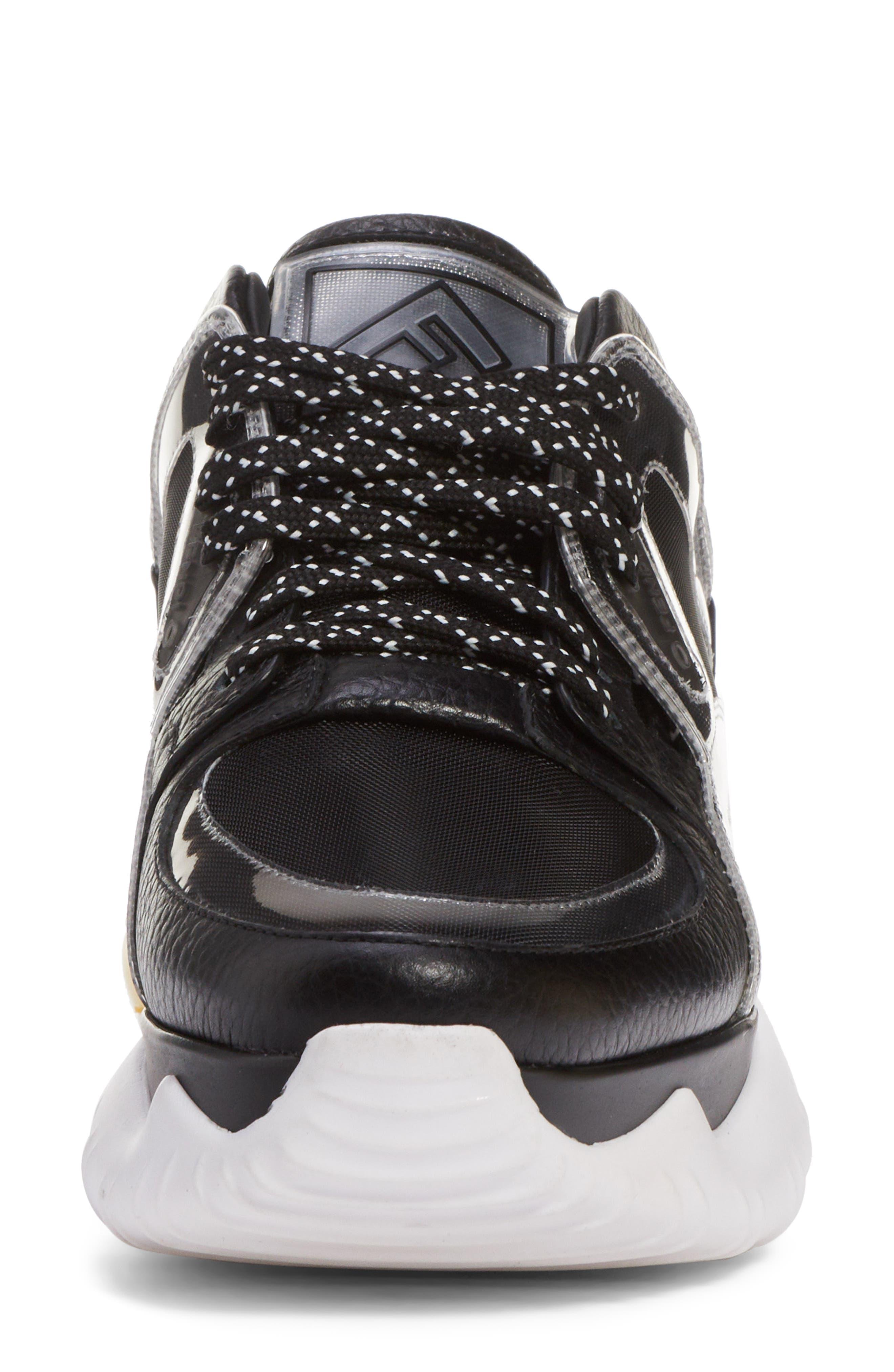 Fancy Lace-Up Sneaker,                             Alternate thumbnail 4, color,                             BLACK