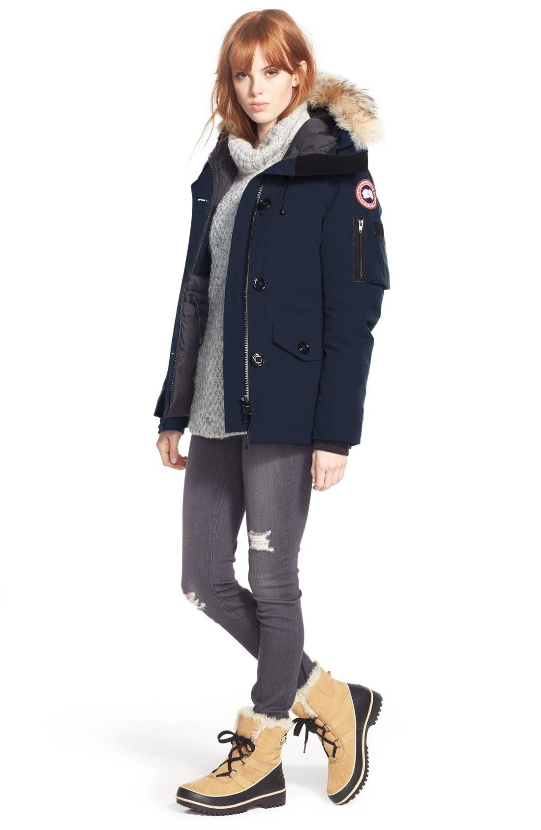 Montebello Slim Fit Down Parka with Genuine Coyote Fur Trim,                             Alternate thumbnail 2, color,                             NAVY