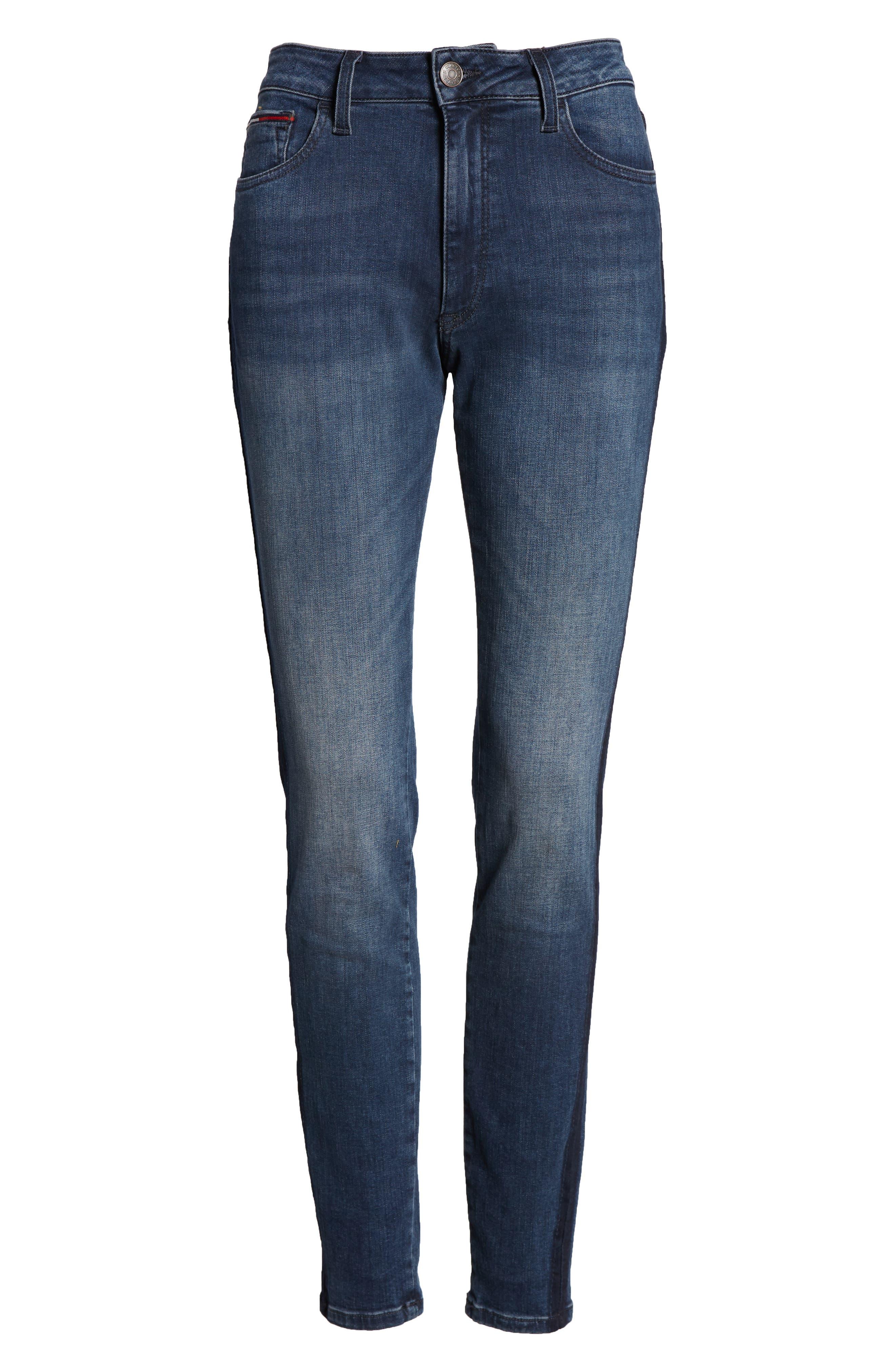 Santana High Waist Skinny Jeans,                             Alternate thumbnail 7, color,                             NEDDLE DARK BLUE STRETCH