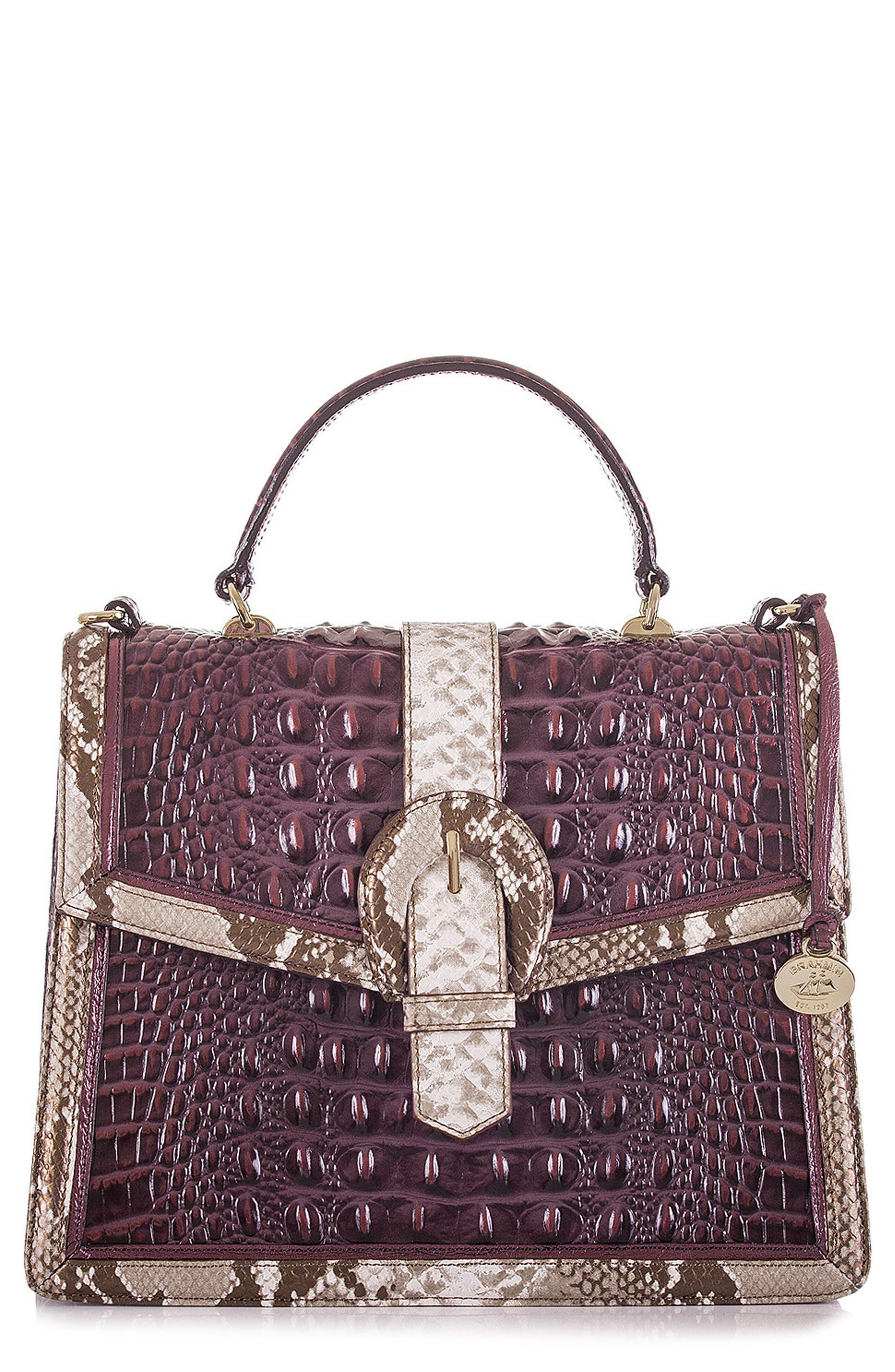Gabriella Croc-Embossed Leather Satchel,                         Main,                         color, 504