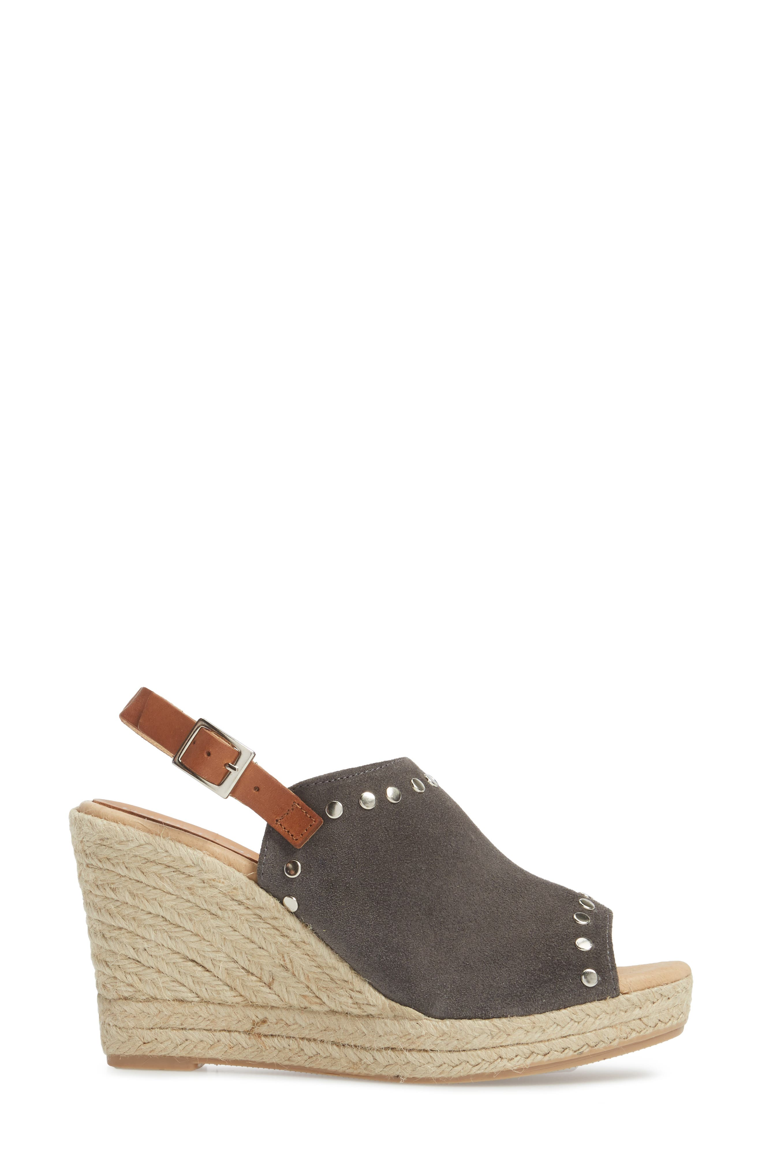 Rockstar Espadrille Wedge Sandal,                             Alternate thumbnail 3, color,                             CHARCOAL SUEDE