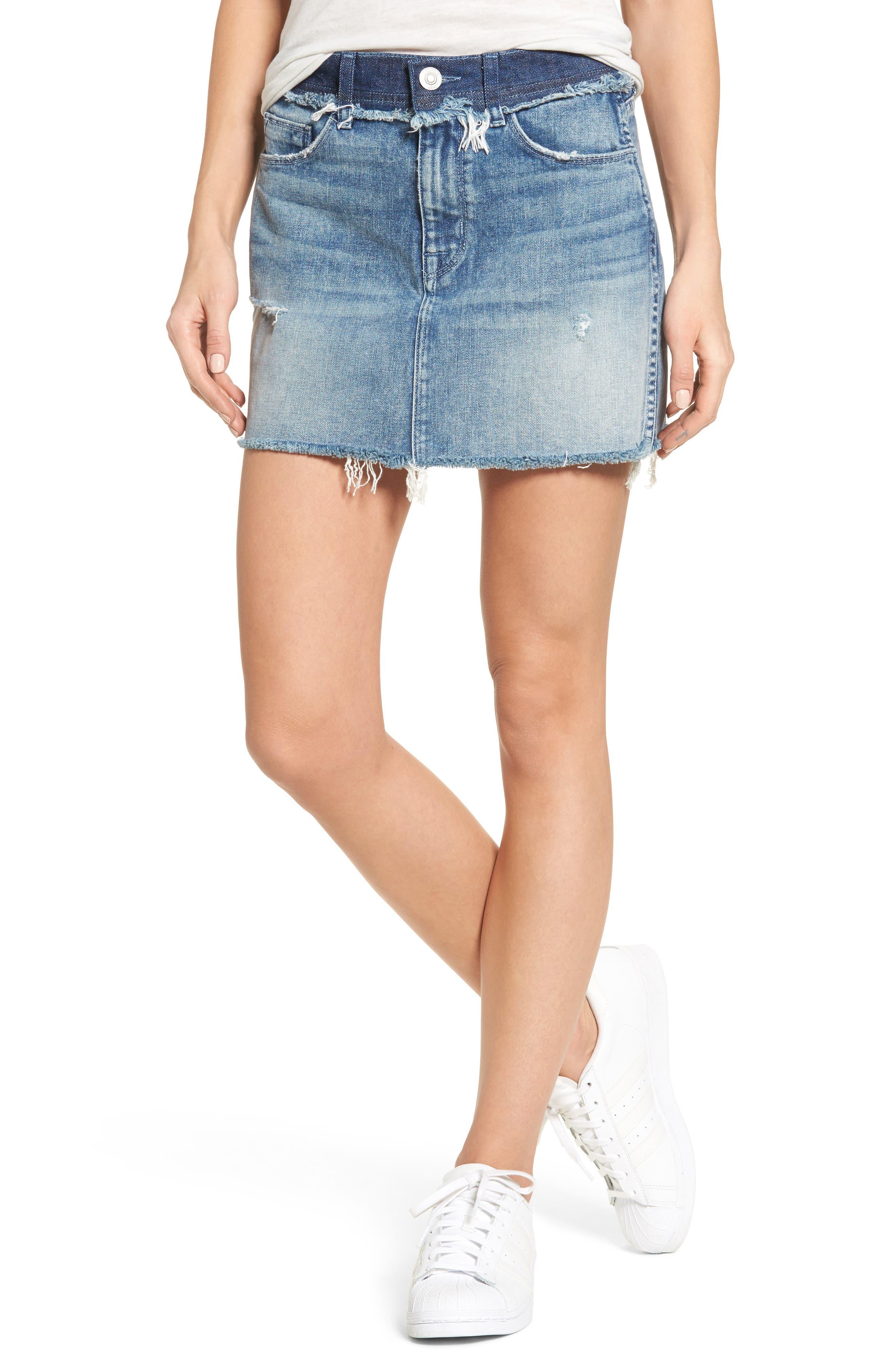 Vivid Cutoff Denim Miniskirt,                             Main thumbnail 1, color,                             401
