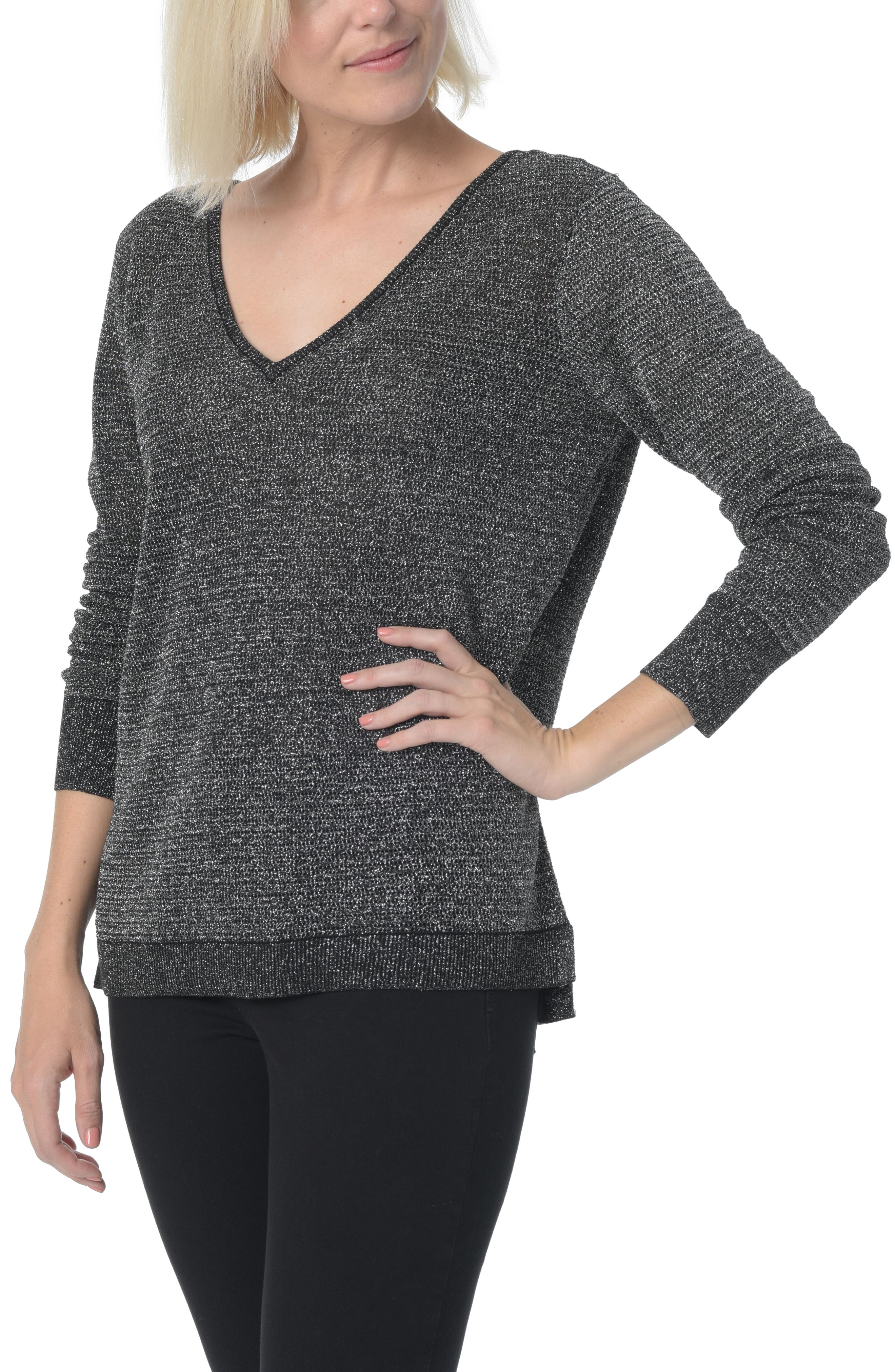 Double V-Neck Sweater,                             Main thumbnail 1, color,                             001