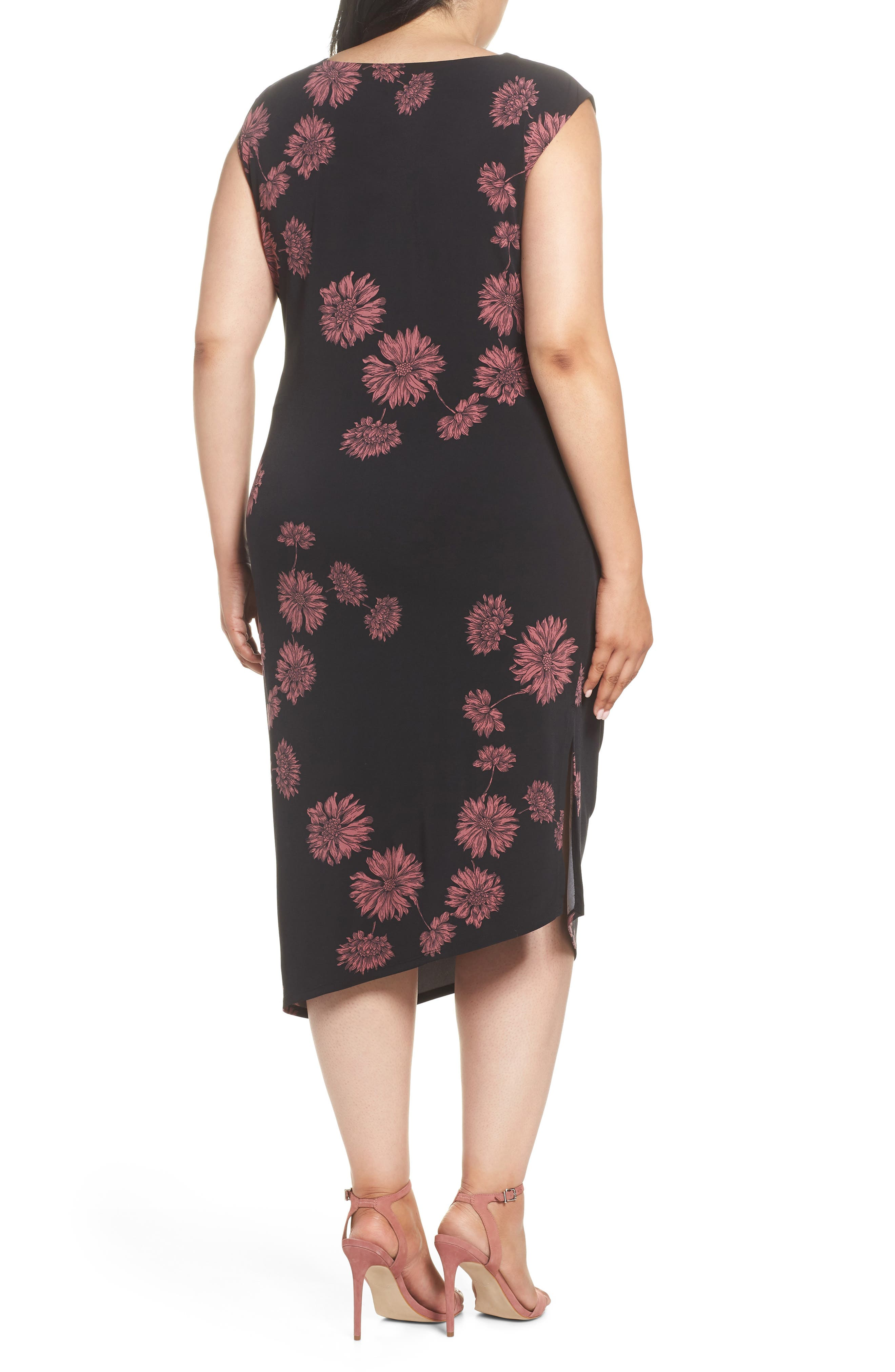 Chateau Floral Side Ruched Body-Con Dress,                             Alternate thumbnail 2, color,                             RICH BLACK