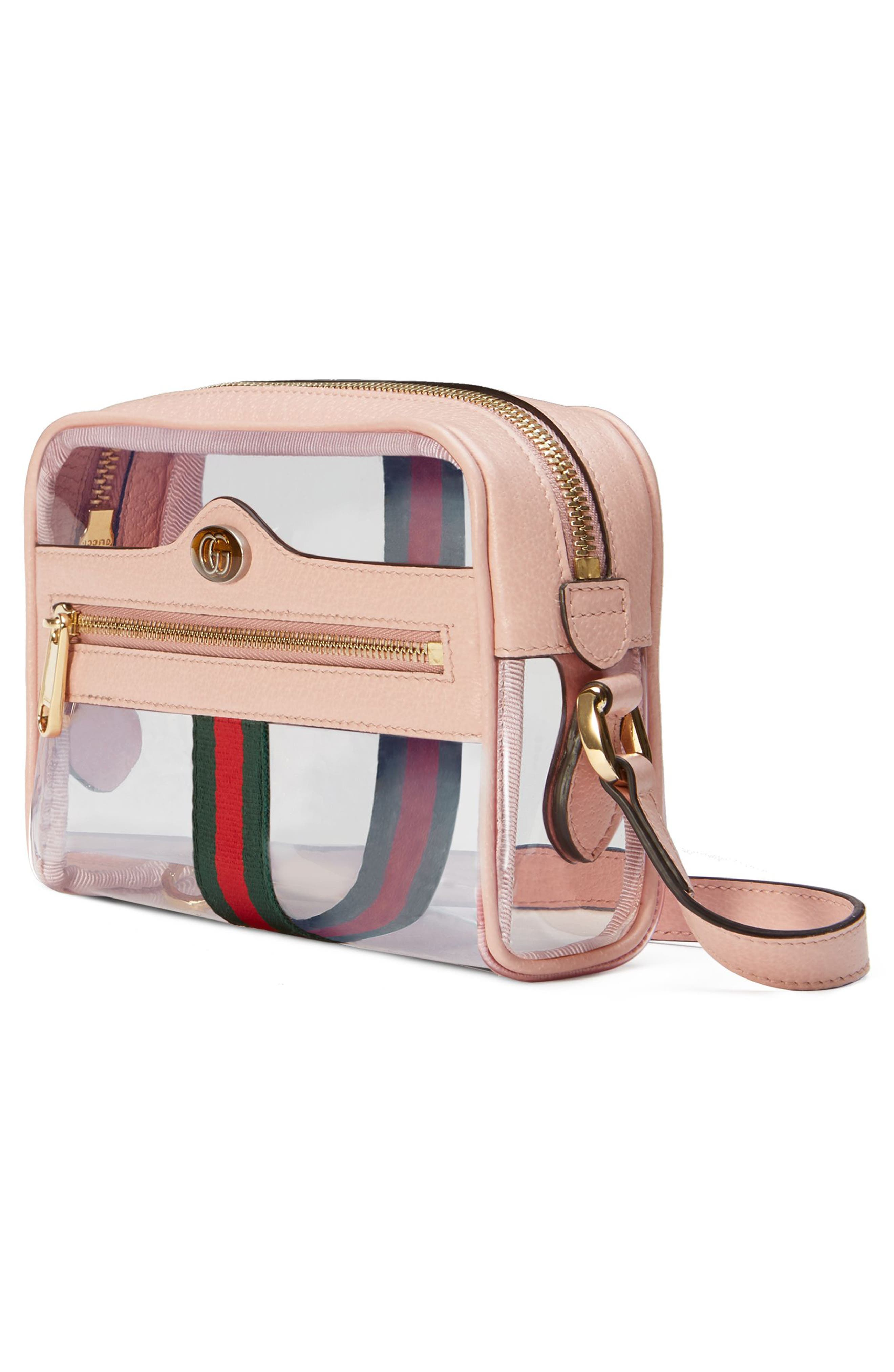 Mini Ophidia Transparent Convertible Bag,                             Alternate thumbnail 4, color,                             PINK/ PERFECT PINK/ VERT RED