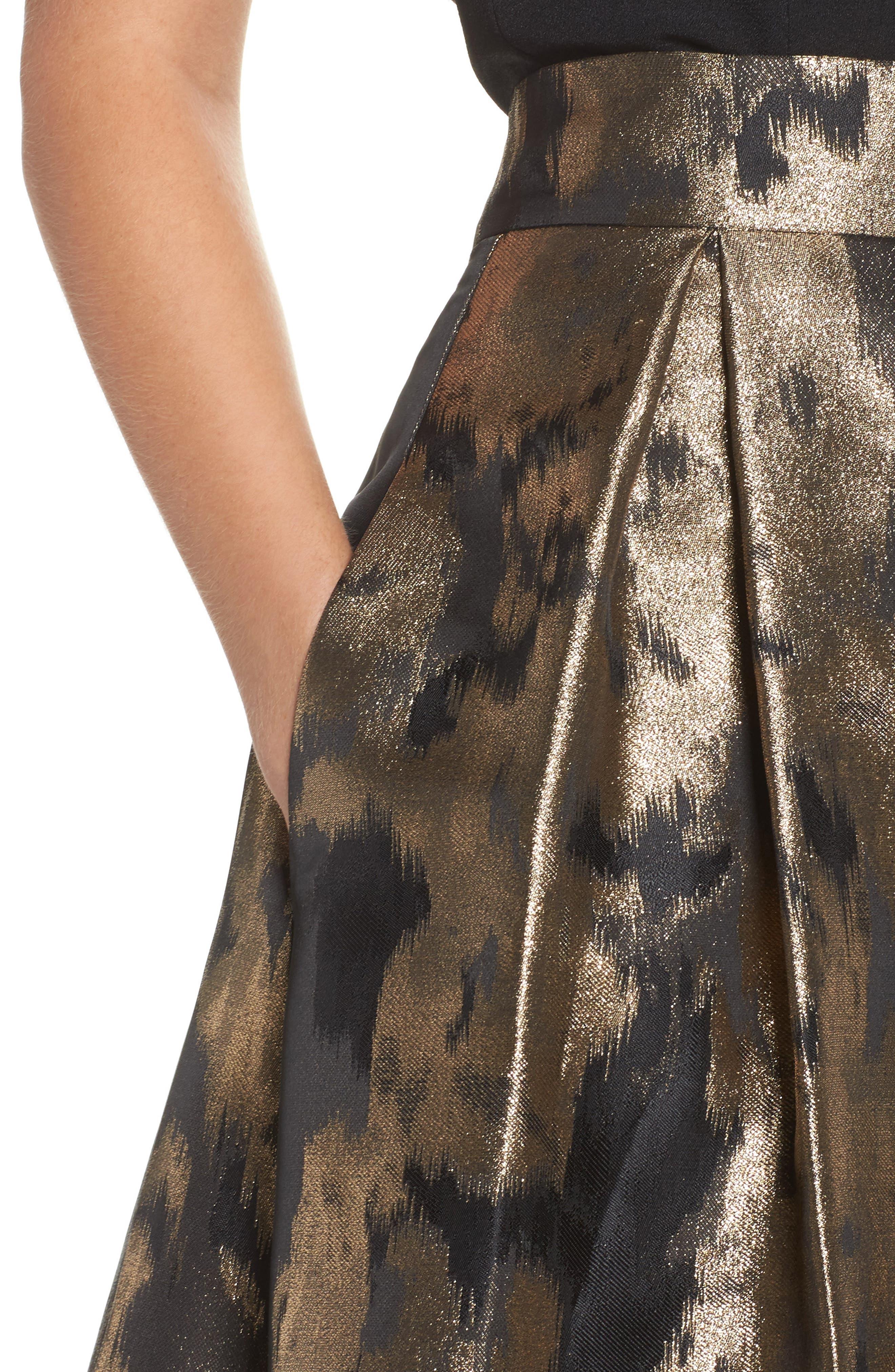 Metallic Jacquard Ball Skirt,                             Alternate thumbnail 4, color,