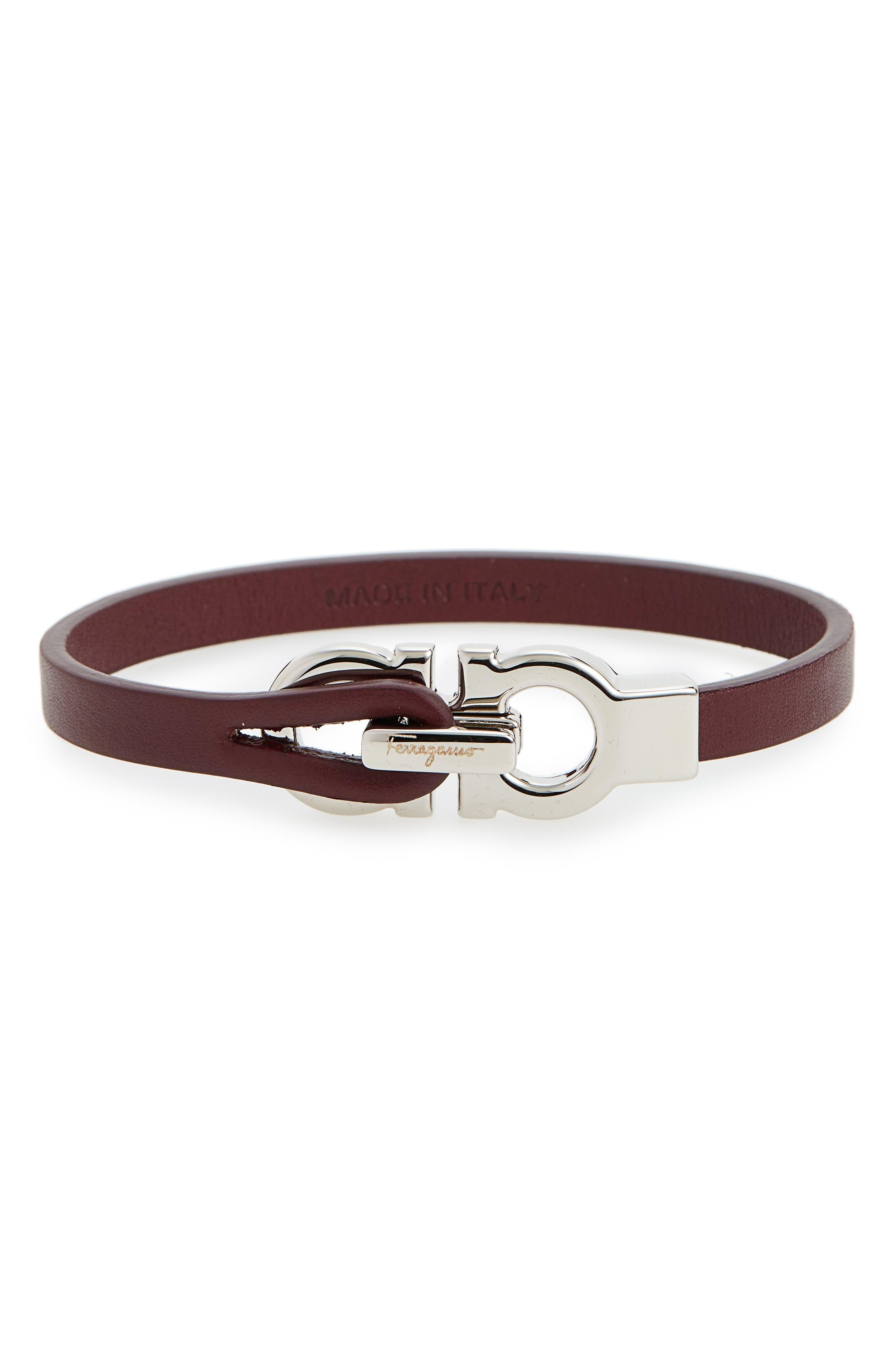 Double Gancini Leather Bracelet,                             Main thumbnail 4, color,