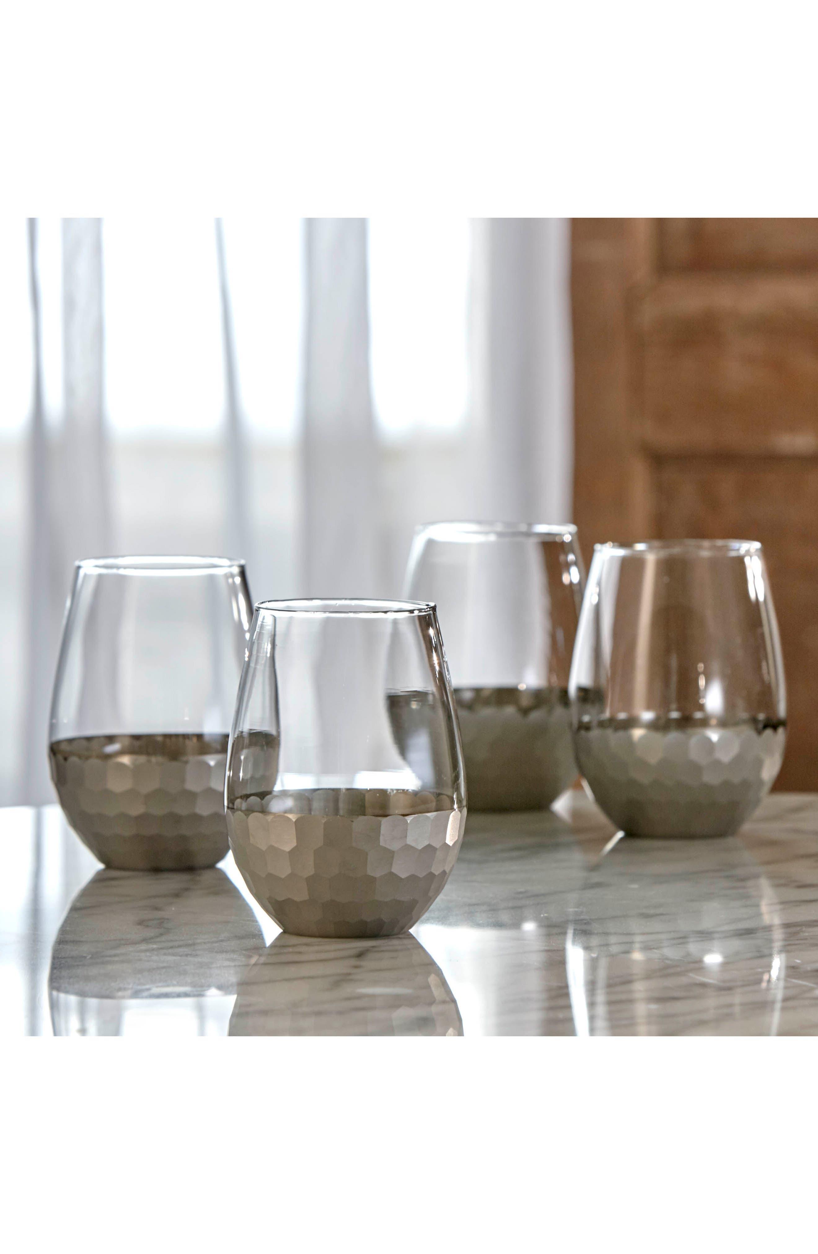 Daphne Set of 4 Stemless Wine Glasses,                             Alternate thumbnail 3, color,                             PLATINUM