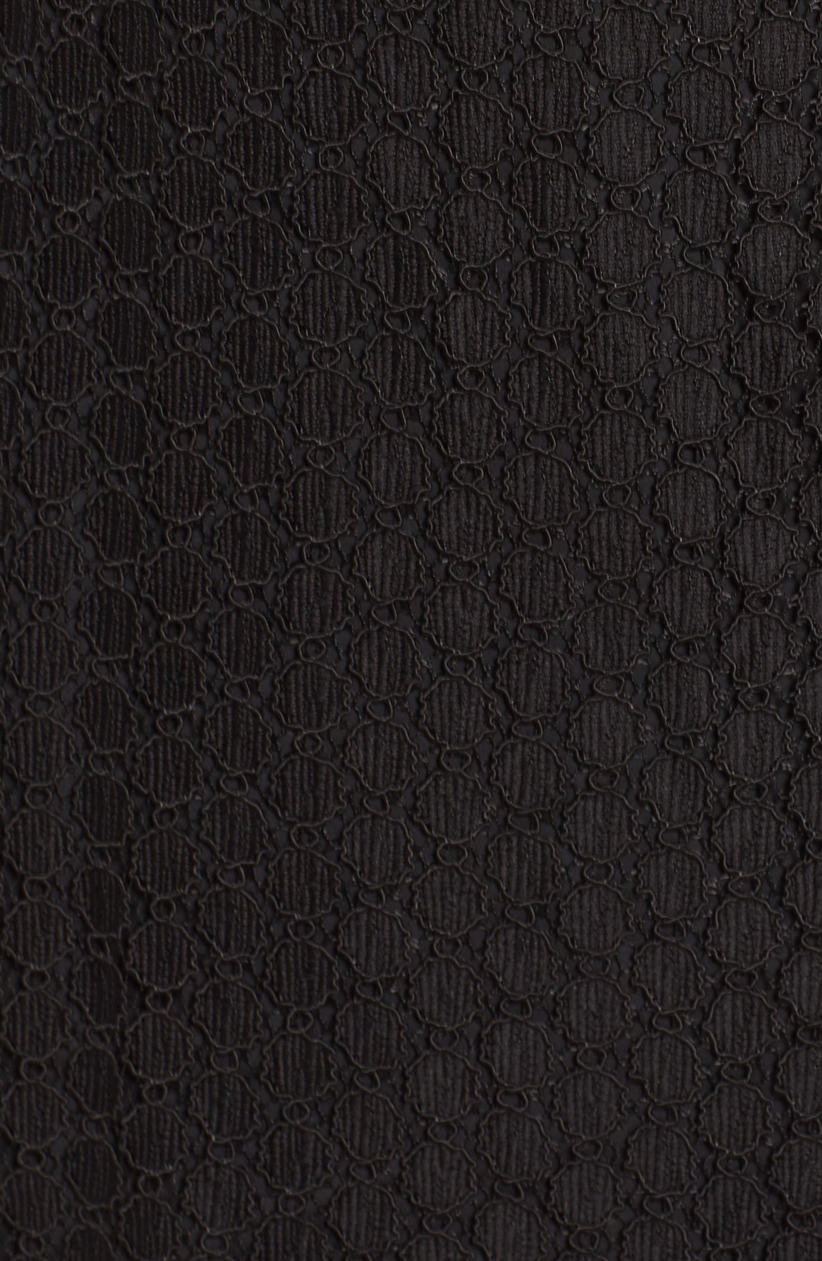Pearl Lace & Velvet Fit & Flare Dress,                             Alternate thumbnail 5, color,                             001