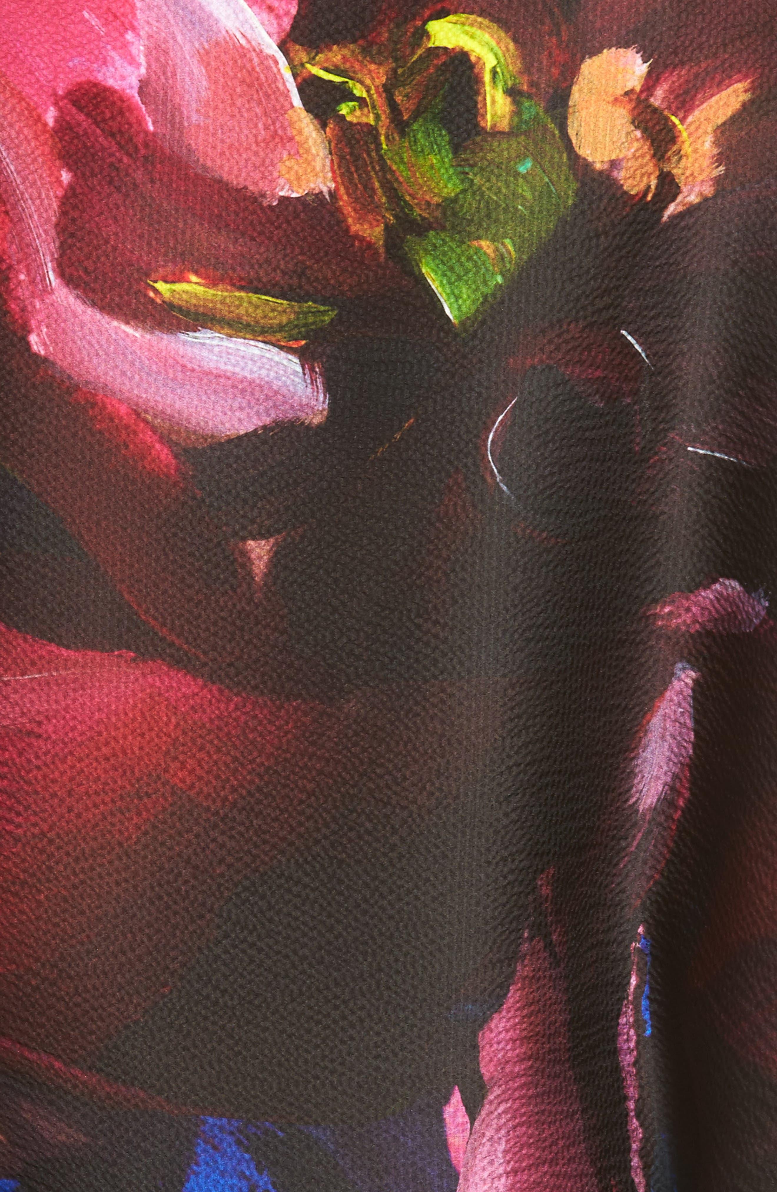 Impressionist Bloom Silk Cape Scarf,                             Alternate thumbnail 5, color,                             001