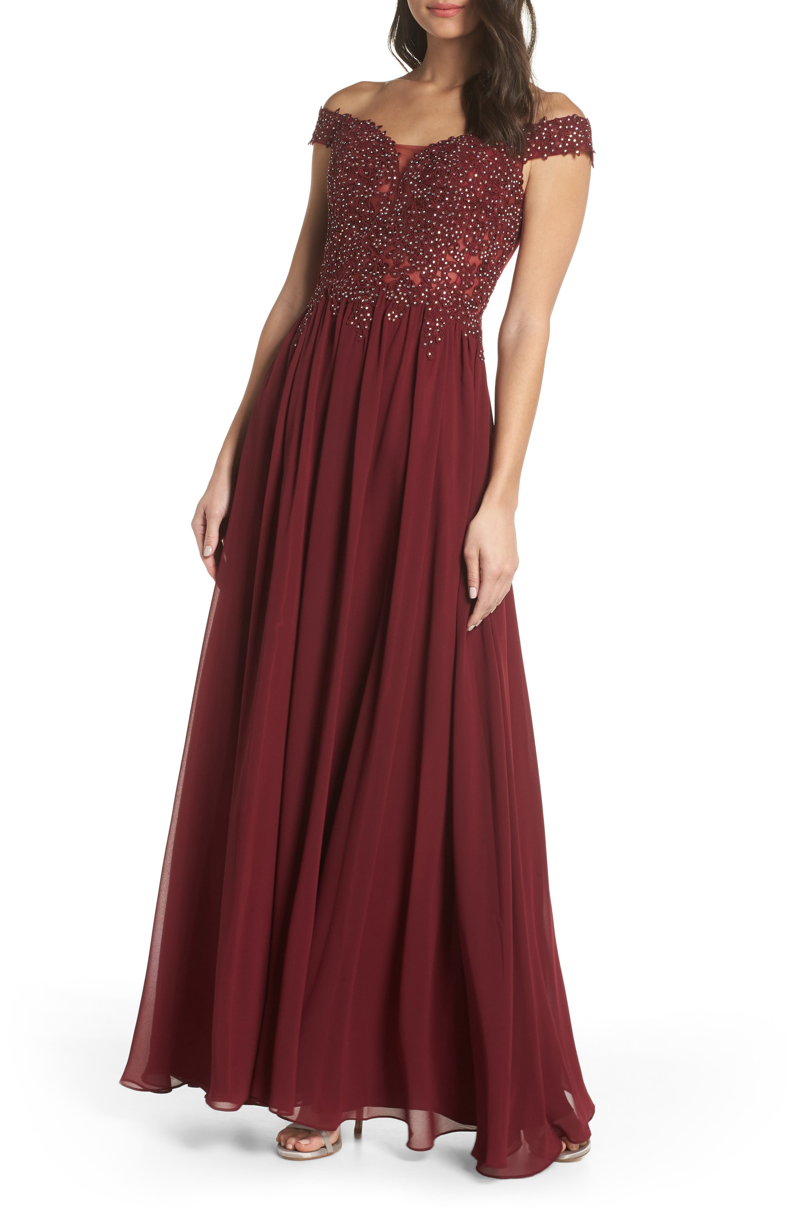 Blondie Nites Off The Shoulder Illusion Back Gown, Burgundy