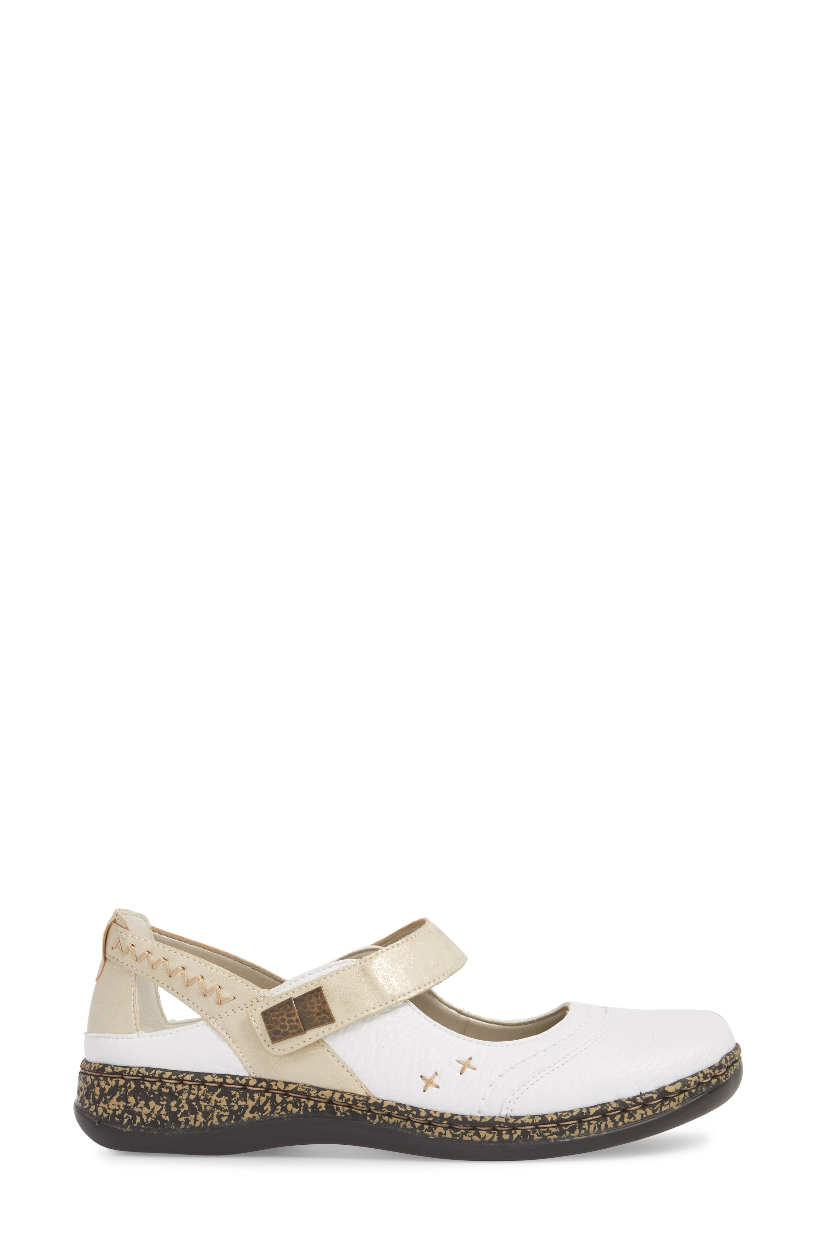 Daisy 78 Mary Jane Flat,                             Alternate thumbnail 3, color,                             WHITE/ GOLD SYNTHETIC LEATHER