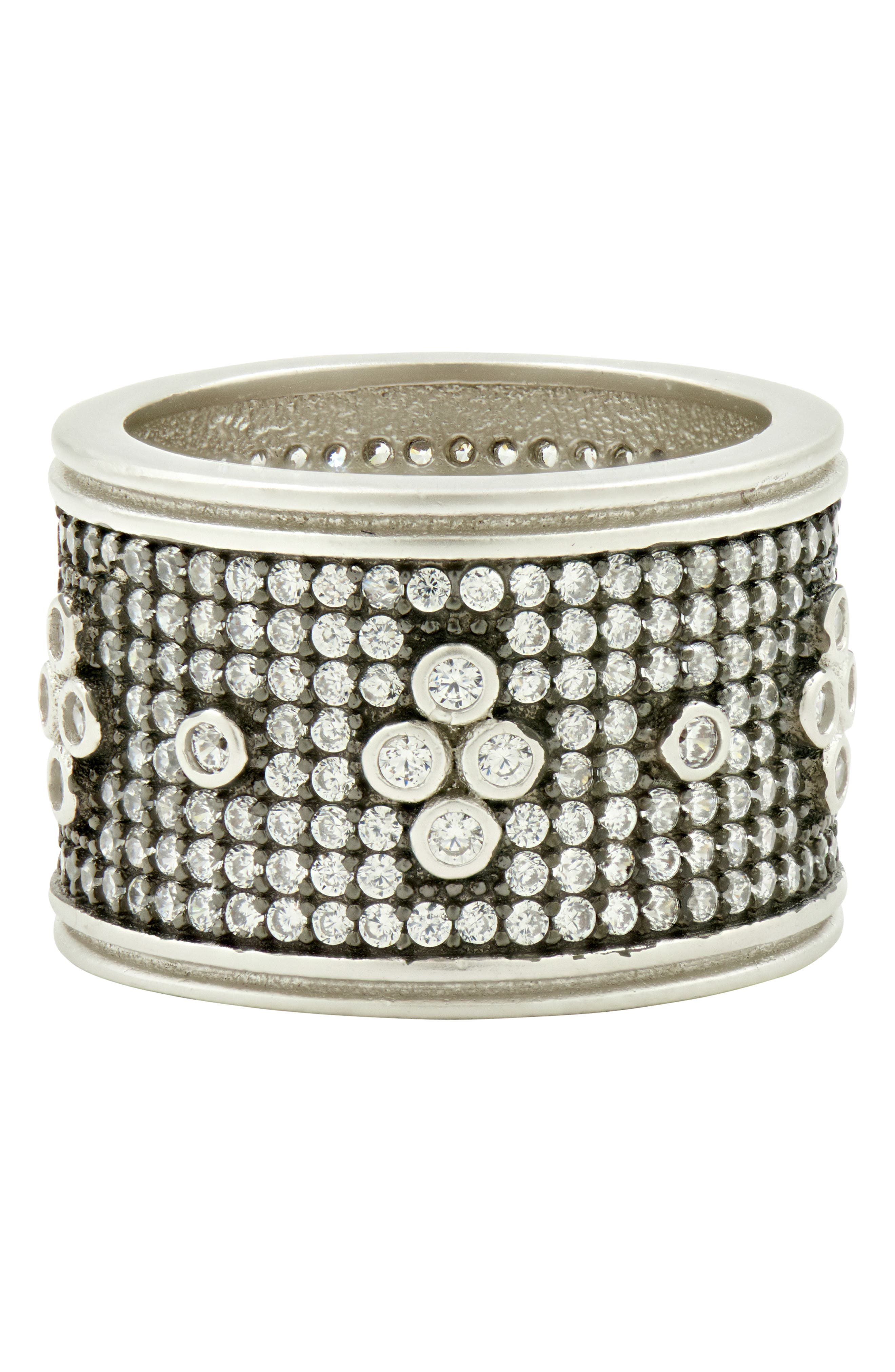 Clover Wide Band Ring,                         Main,                         color, BLACK/ WHITE/ SILVER