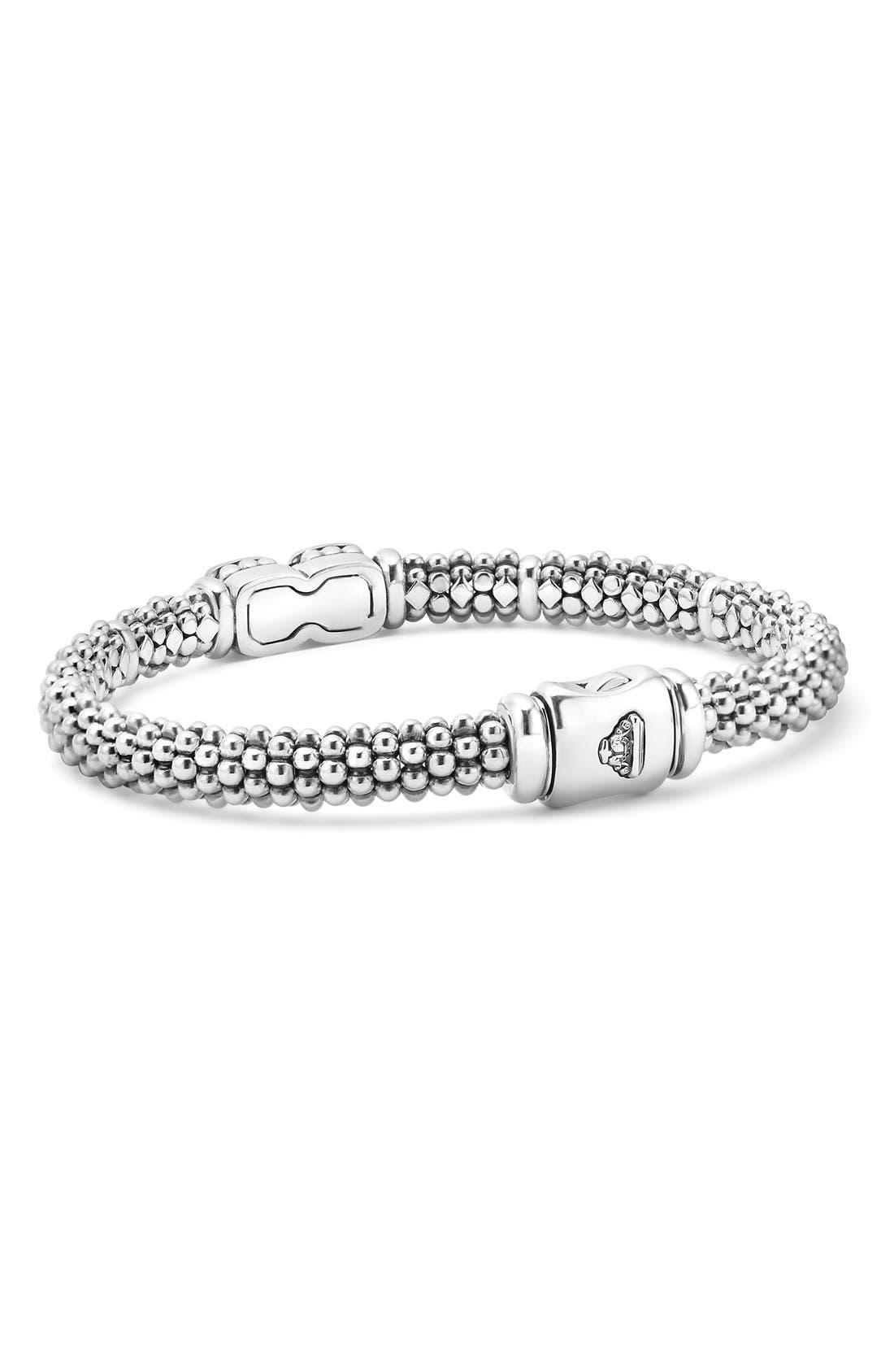 'Cushion' Diamond Caviar Bracelet,                             Alternate thumbnail 3, color,                             SILVER/ GOLD