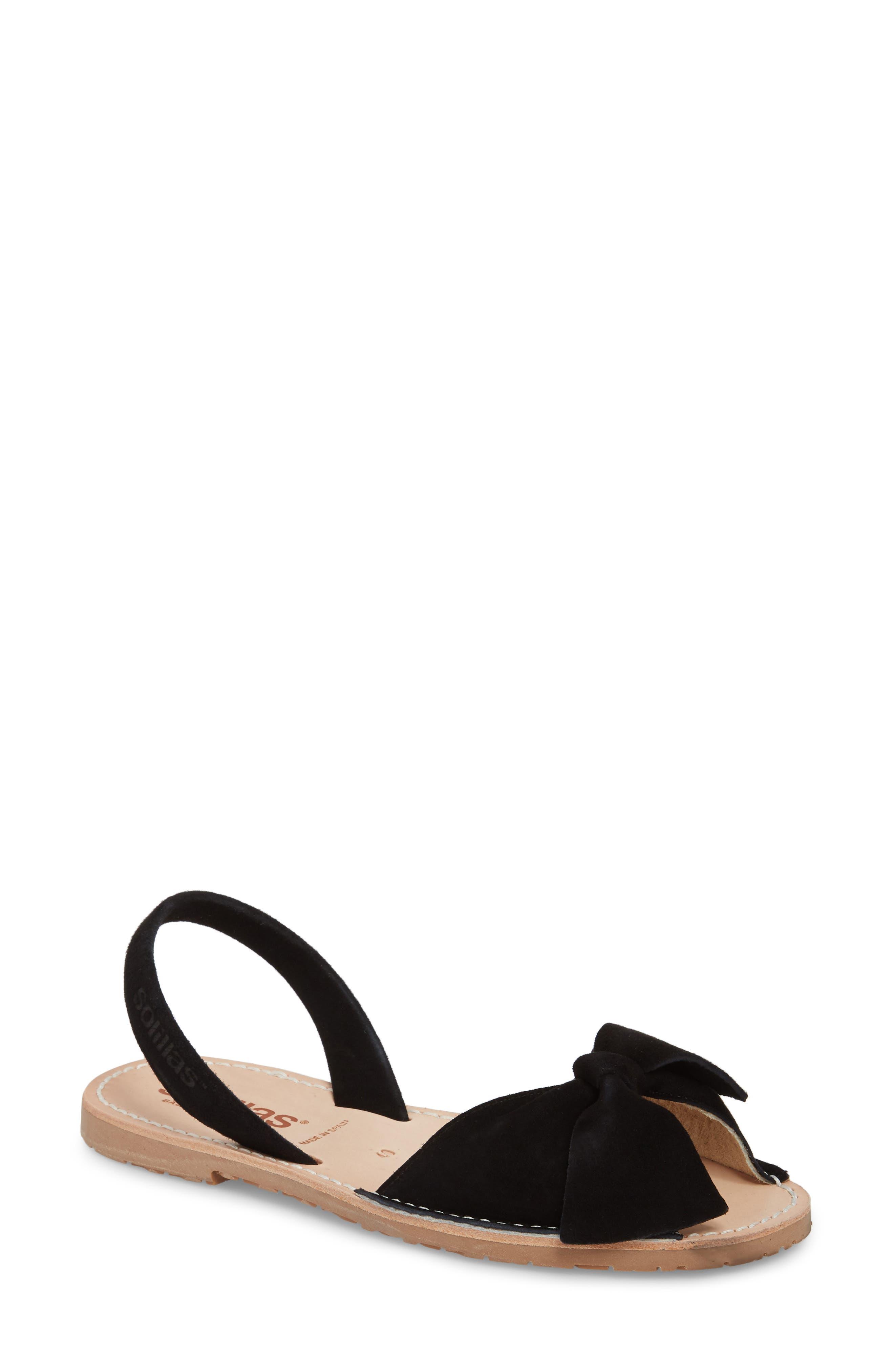 Bow Sandal,                         Main,                         color, BLACK