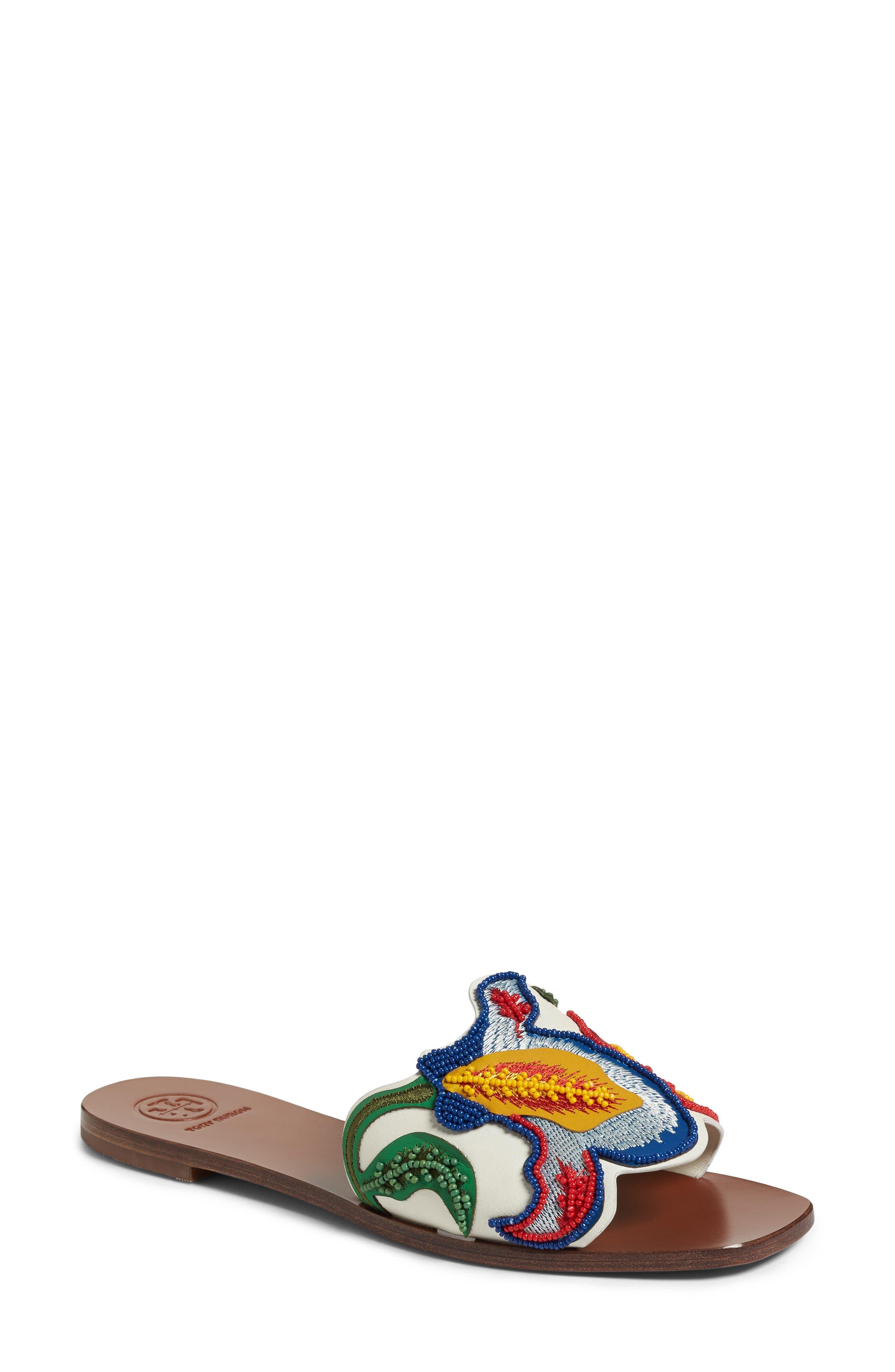 TORY BURCH,                             Bianca Floral Embellished Slide Sandal,                             Main thumbnail 1, color,                             900