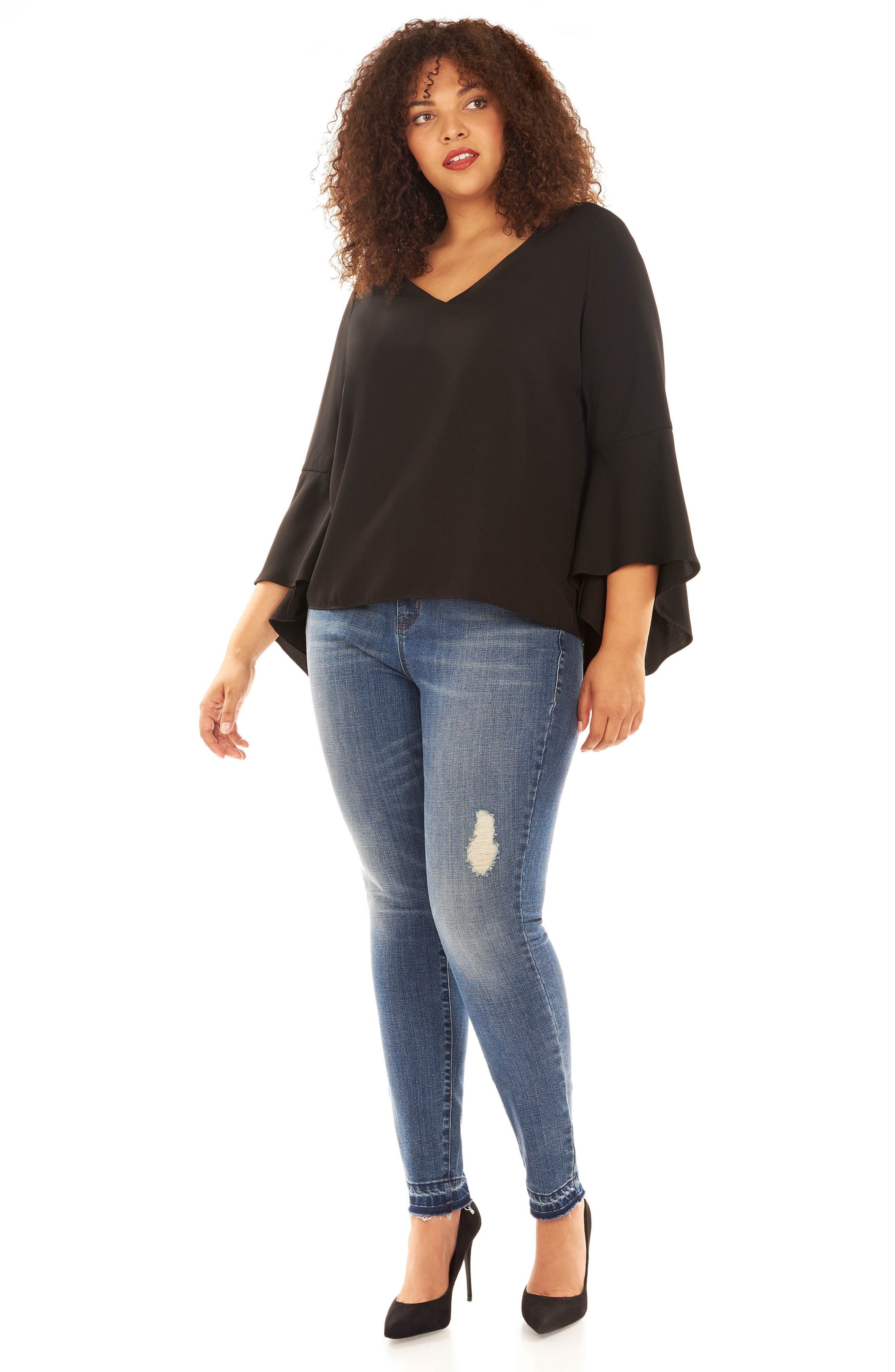 Bell Sleeve Top,                             Alternate thumbnail 4, color,                             002