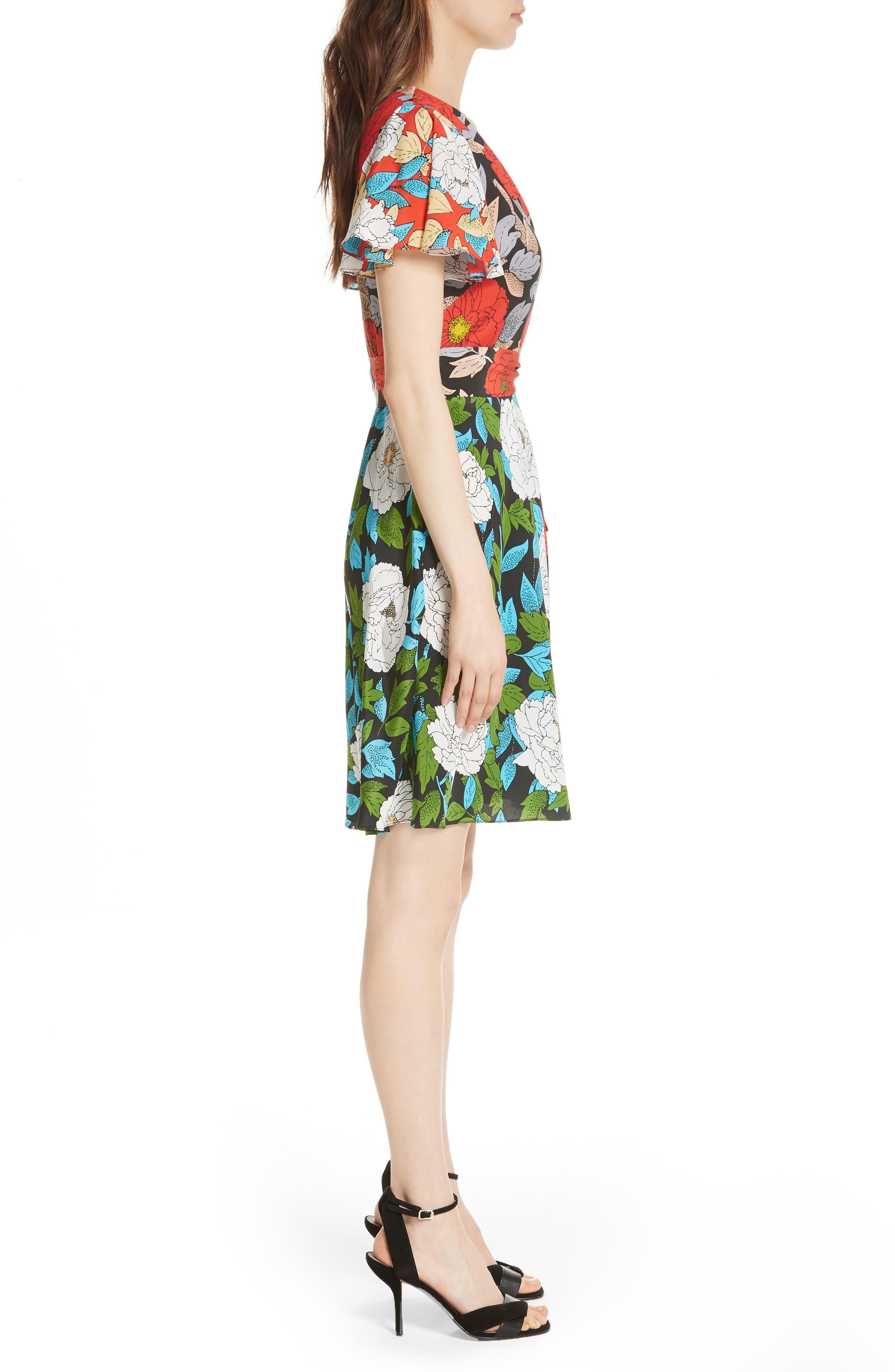 Diane von Furstenberg Flutter Sleeve Silk Wrap Dress,                             Alternate thumbnail 10, color,
