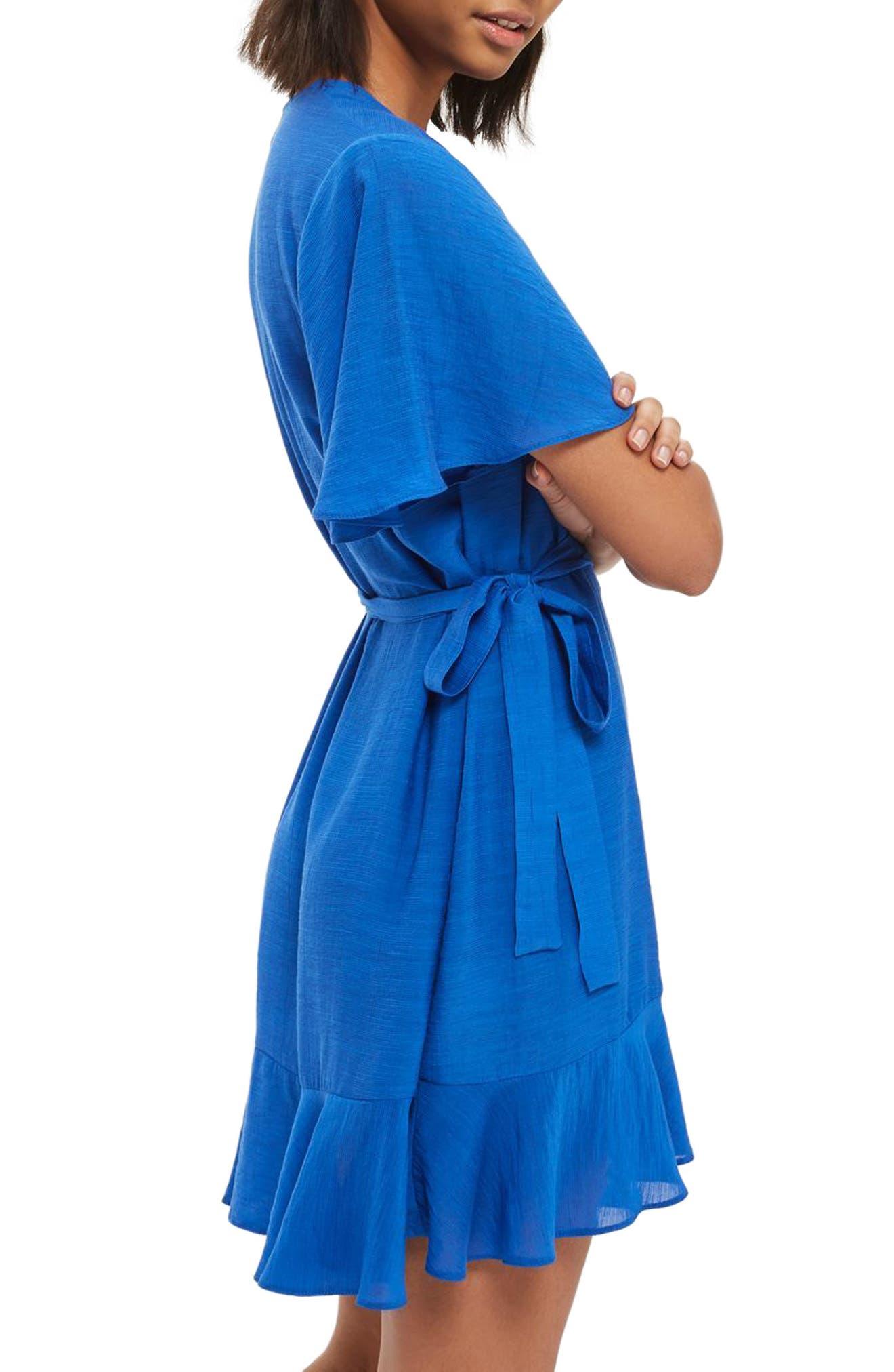Ruffle Wrap Dress,                             Alternate thumbnail 3, color,                             400
