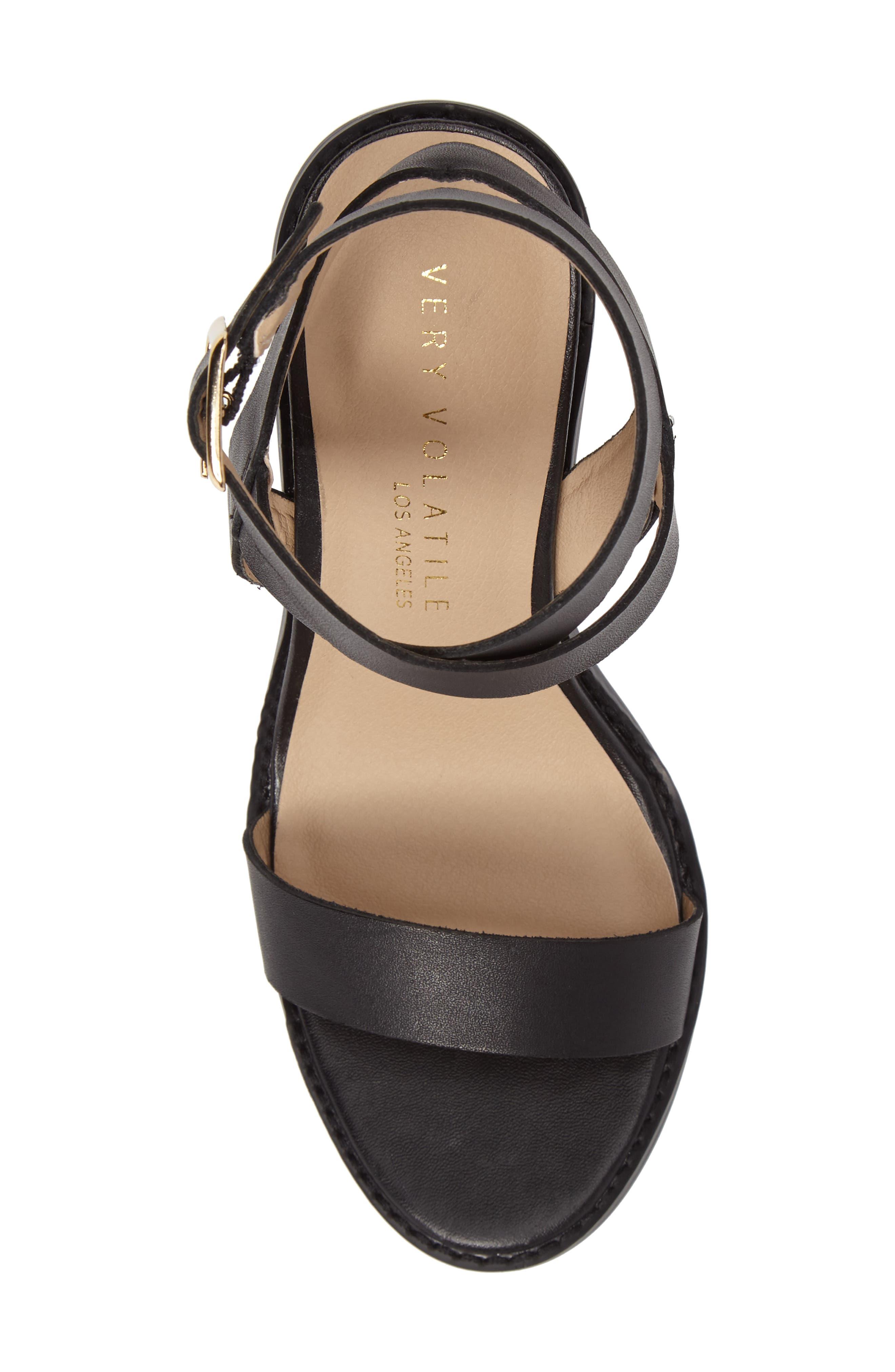 Poshy Ankle Wrap Sandal,                             Alternate thumbnail 5, color,                             BLACK LEATHER