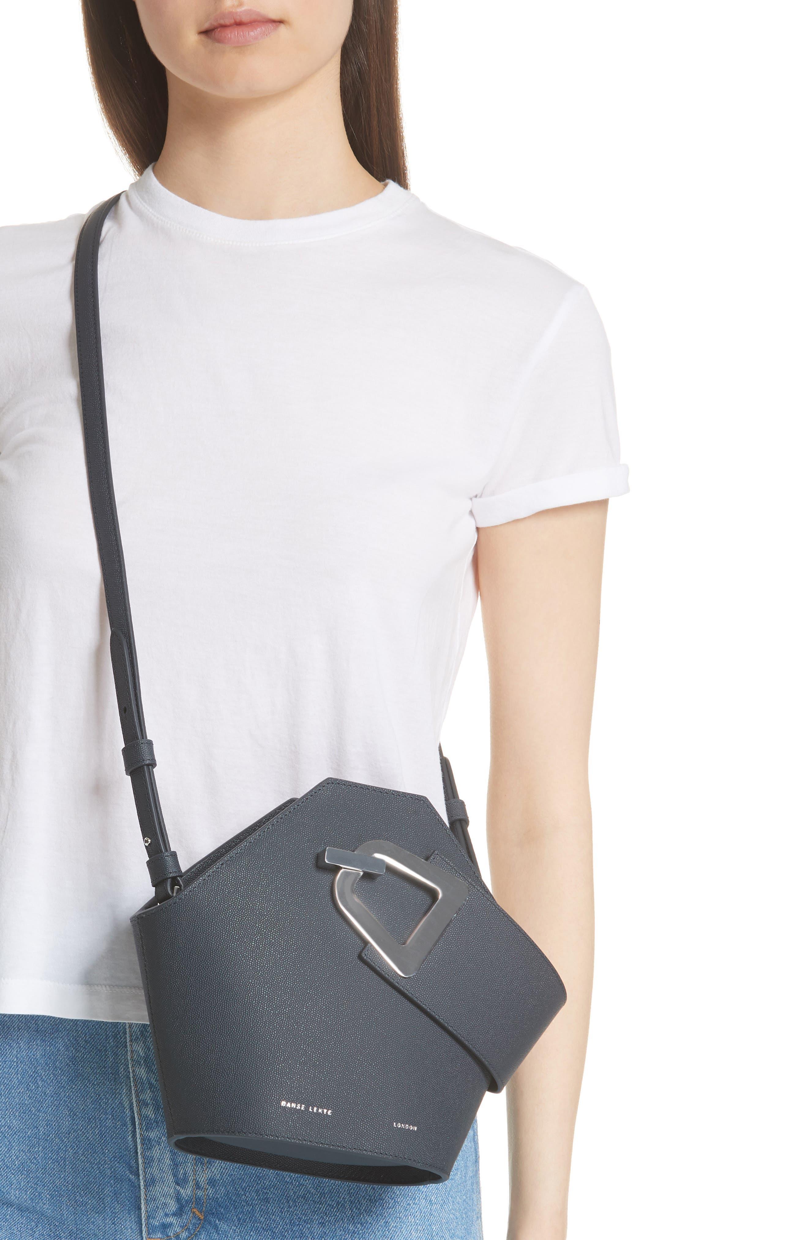 Mini Johnny Leather Bucket Bag,                             Alternate thumbnail 2, color,                             MARINE