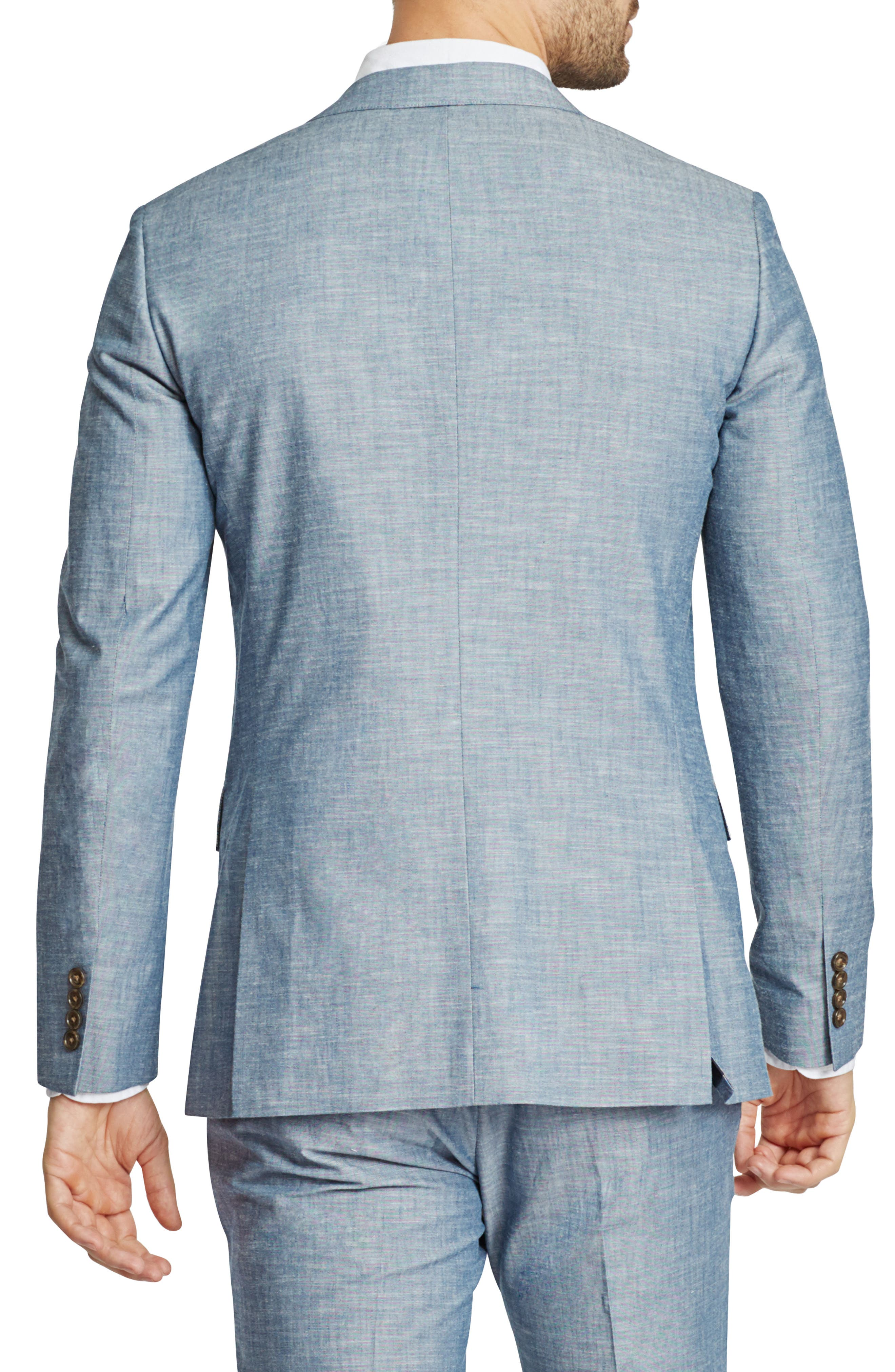 Trim Fit Chambray Cotton Blazer,                             Alternate thumbnail 2, color,                             SOLID BLUE