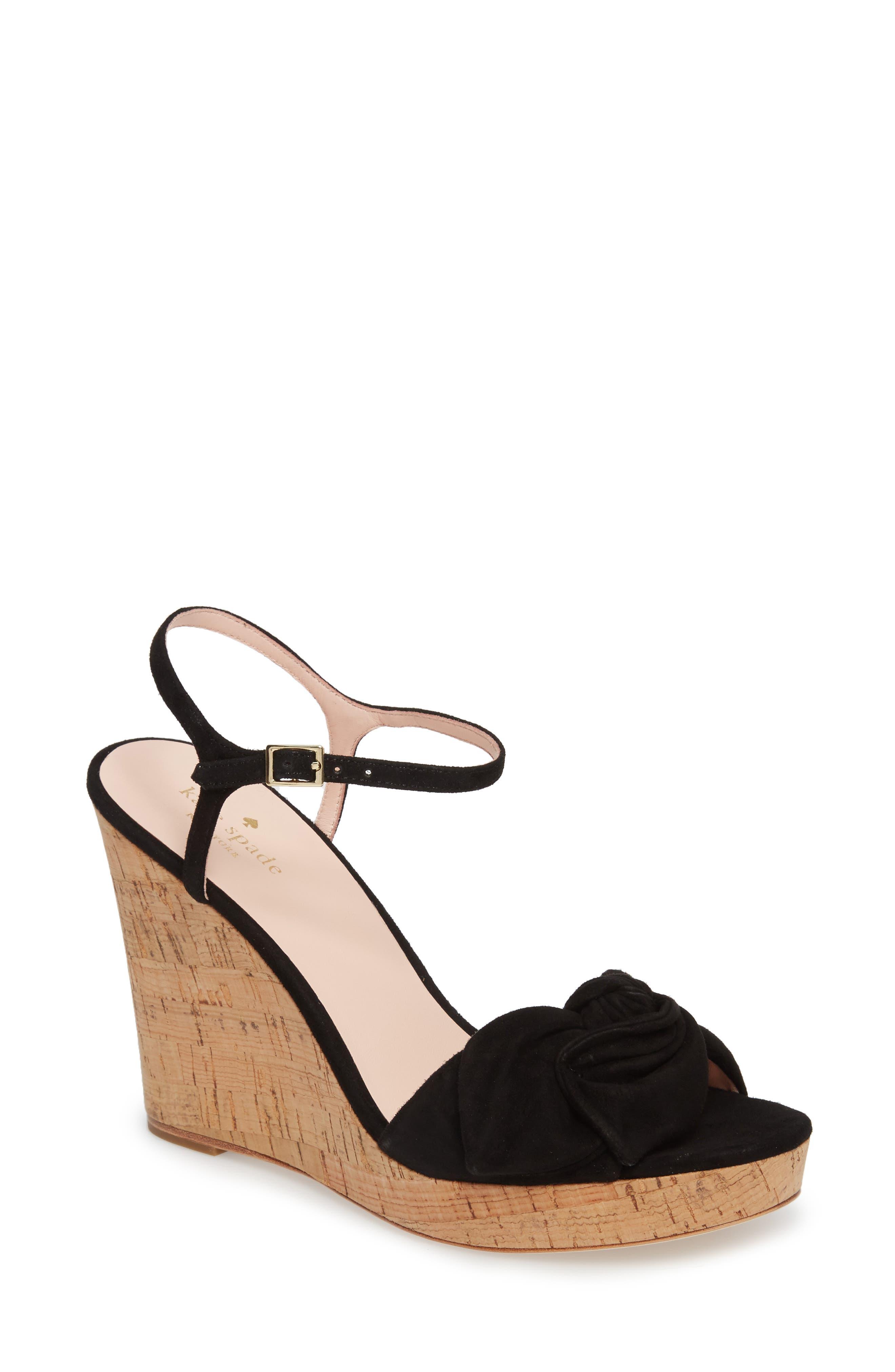 janae knot platform wedge sandal,                             Main thumbnail 1, color,                             001