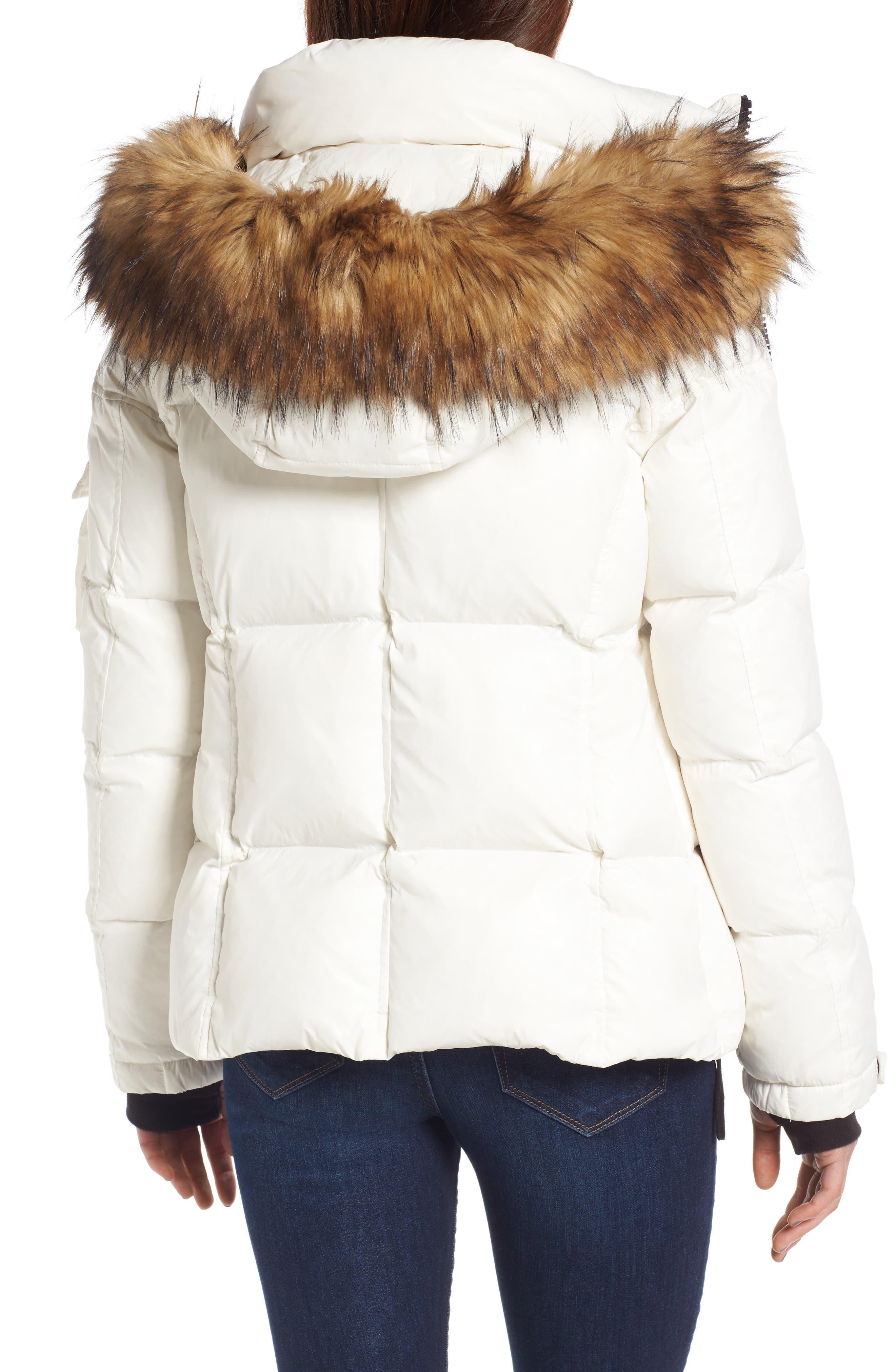 Kylie Faux Fur Trim Gloss Puffer Jacket,                             Alternate thumbnail 12, color,