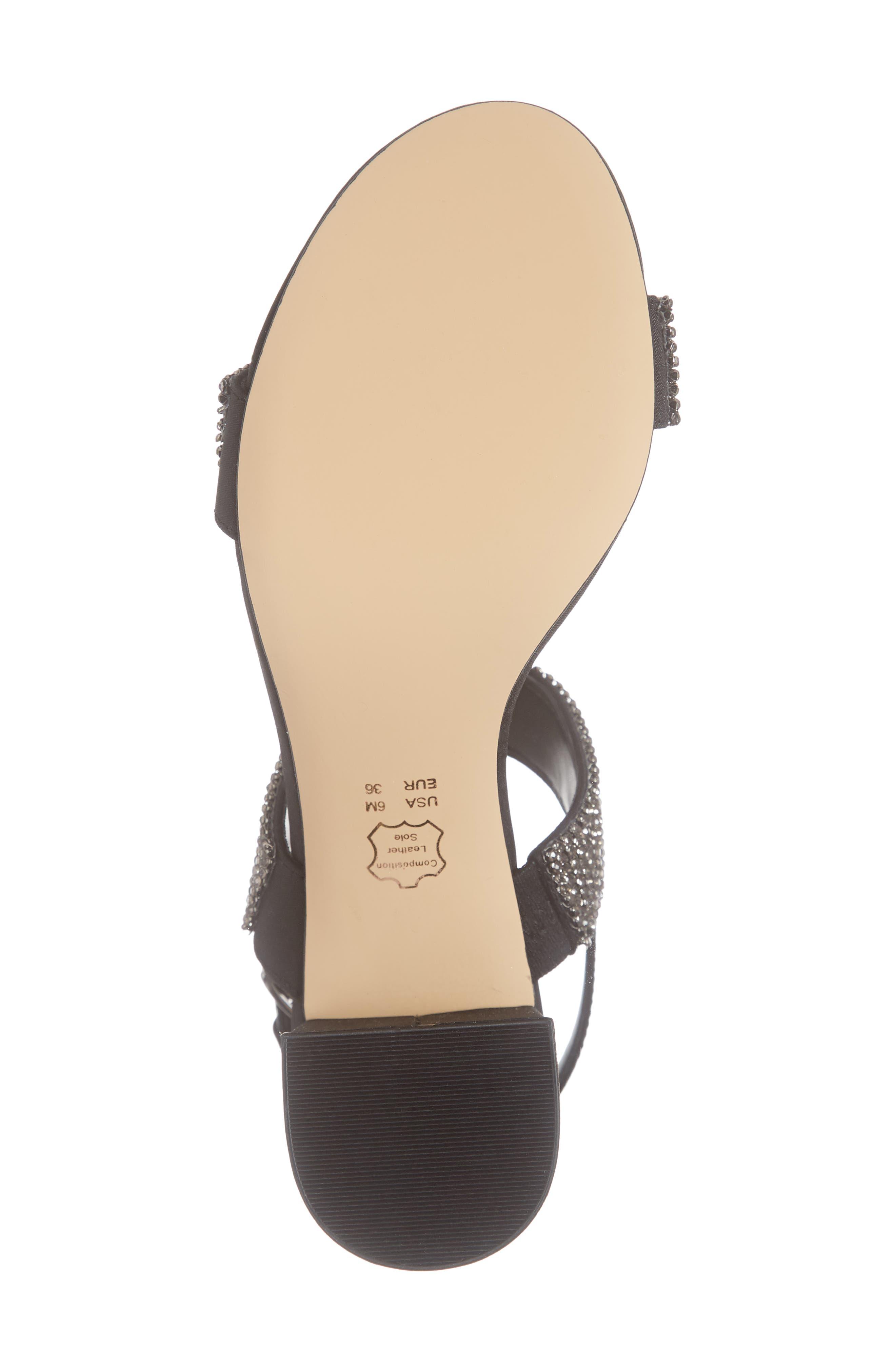 Naomi Crystal Embellished Sandal,                             Alternate thumbnail 6, color,                             BLACK FABRIC